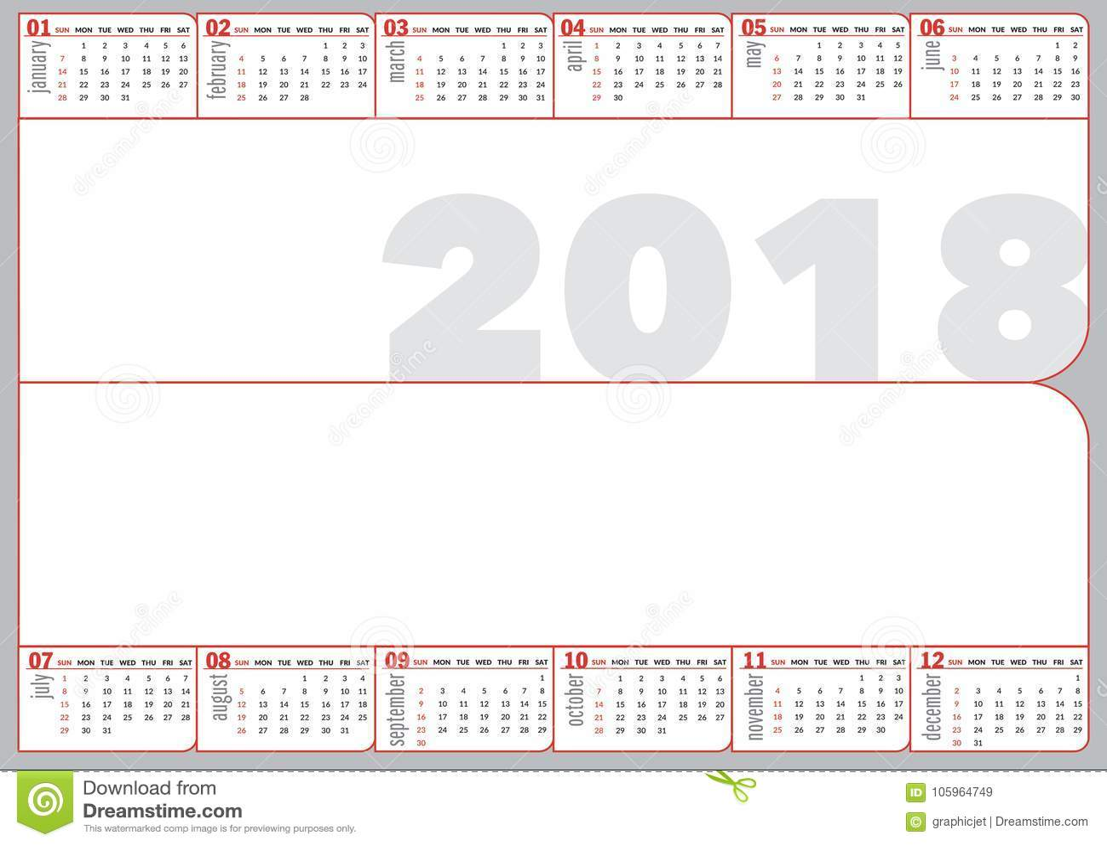 2018 folded calendar in basic style stock vector illustration of