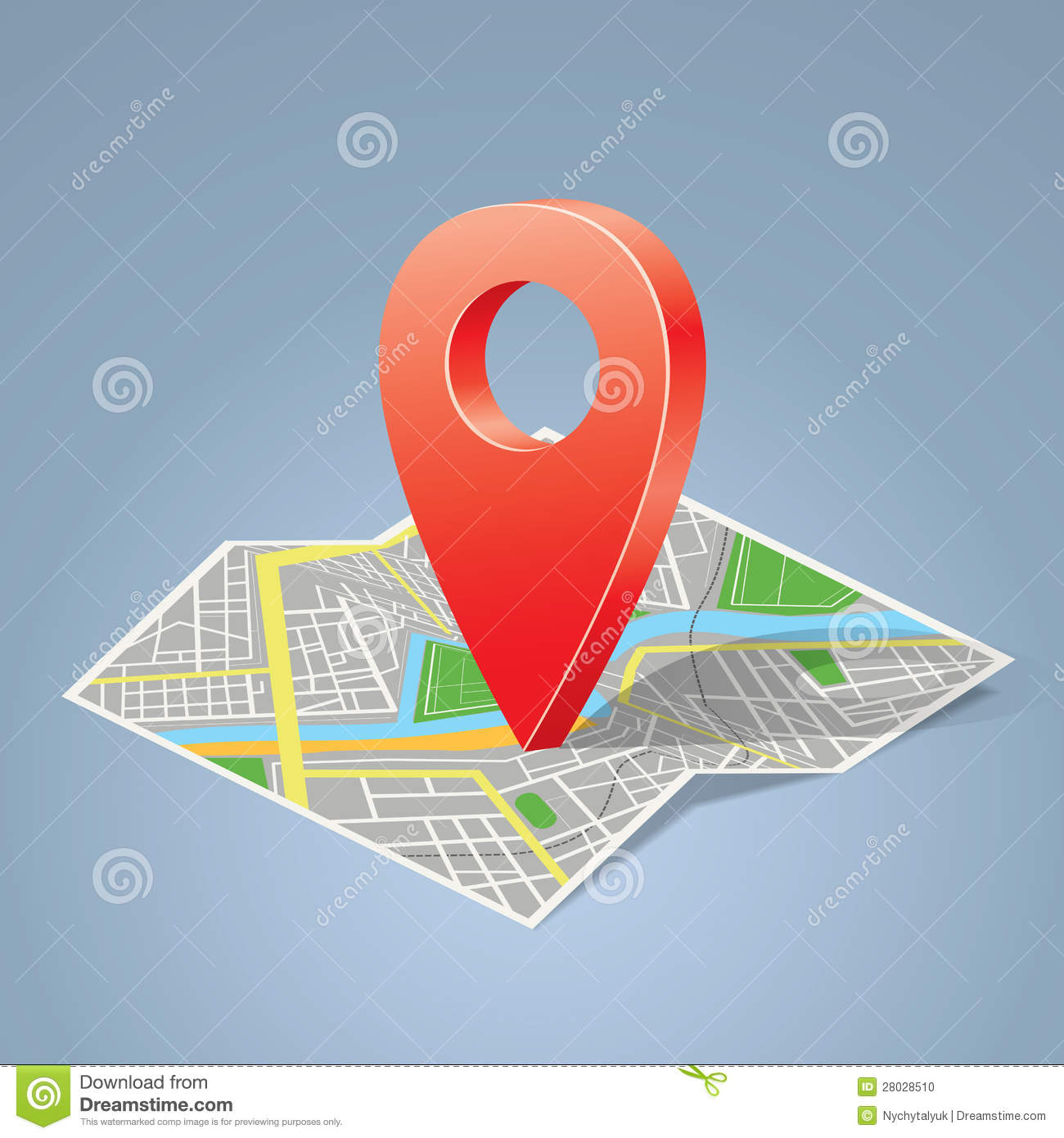 Folded Map With Color Label Point Marker Stock Photo