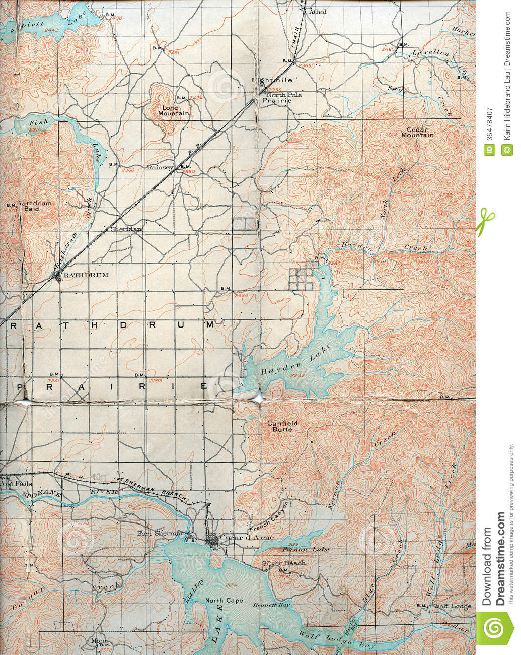1903 Folded Map Stock Image Image Of Textured Prairie 36478407