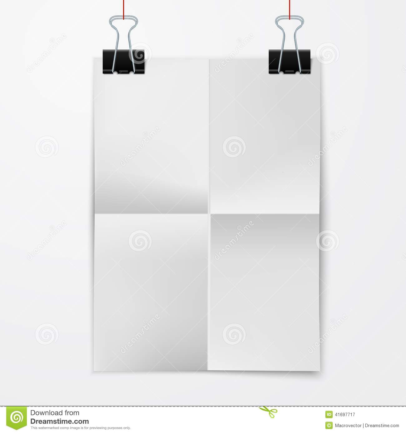 folded paper sheet with binder clip stock vector - illustration of