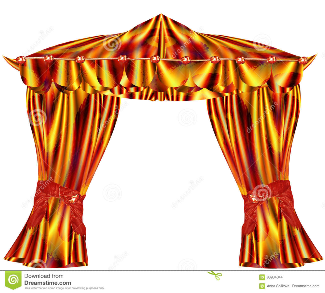 Folded Red Gold And Green Curtains With Wavy Pattern Stock