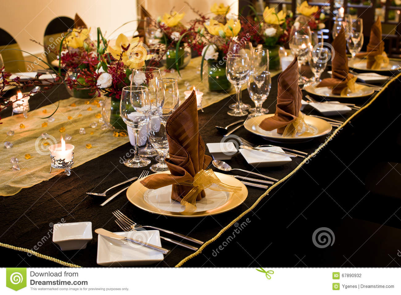 Folded table napkin in formal table setting stock photo for Table utensils