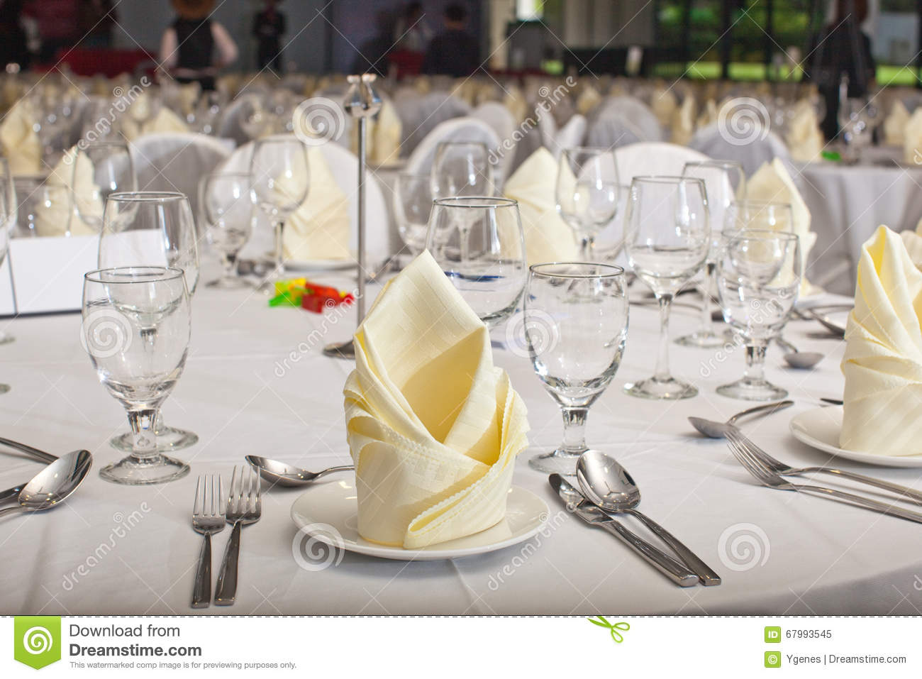 Folded table napkin in formal table setting & Folded Table Napkin In Formal Table Setting Stock Image - Image of ...