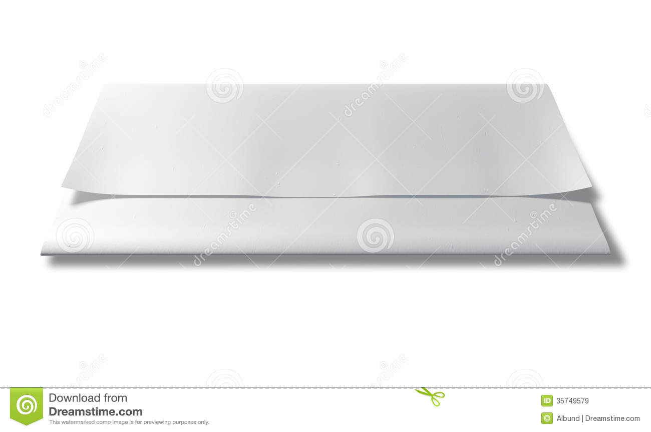 folded white paper front perspective royalty free stock