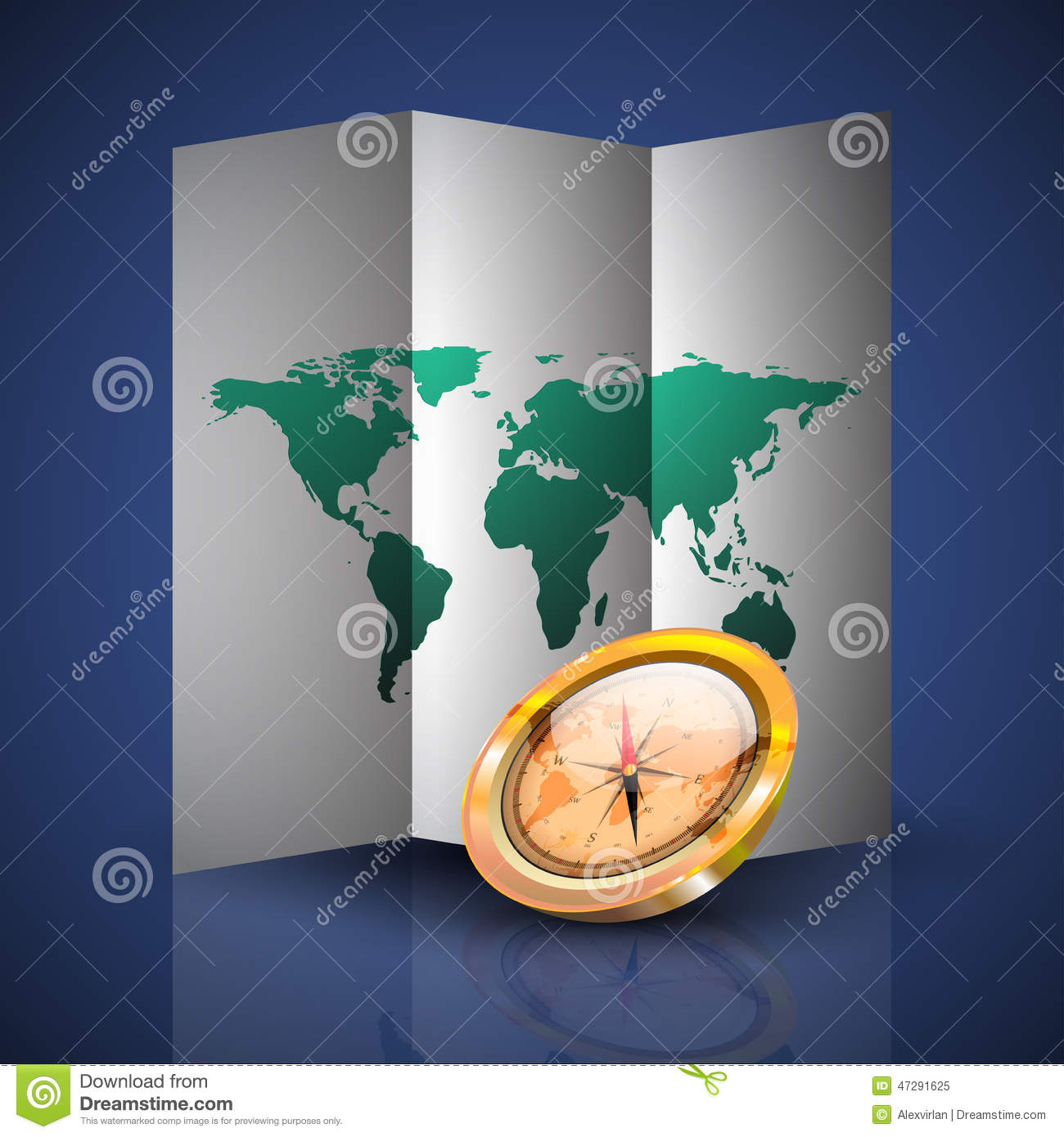 Terra Earth Map.Folded World Map With Compass Stock Vector Illustration Of Terra