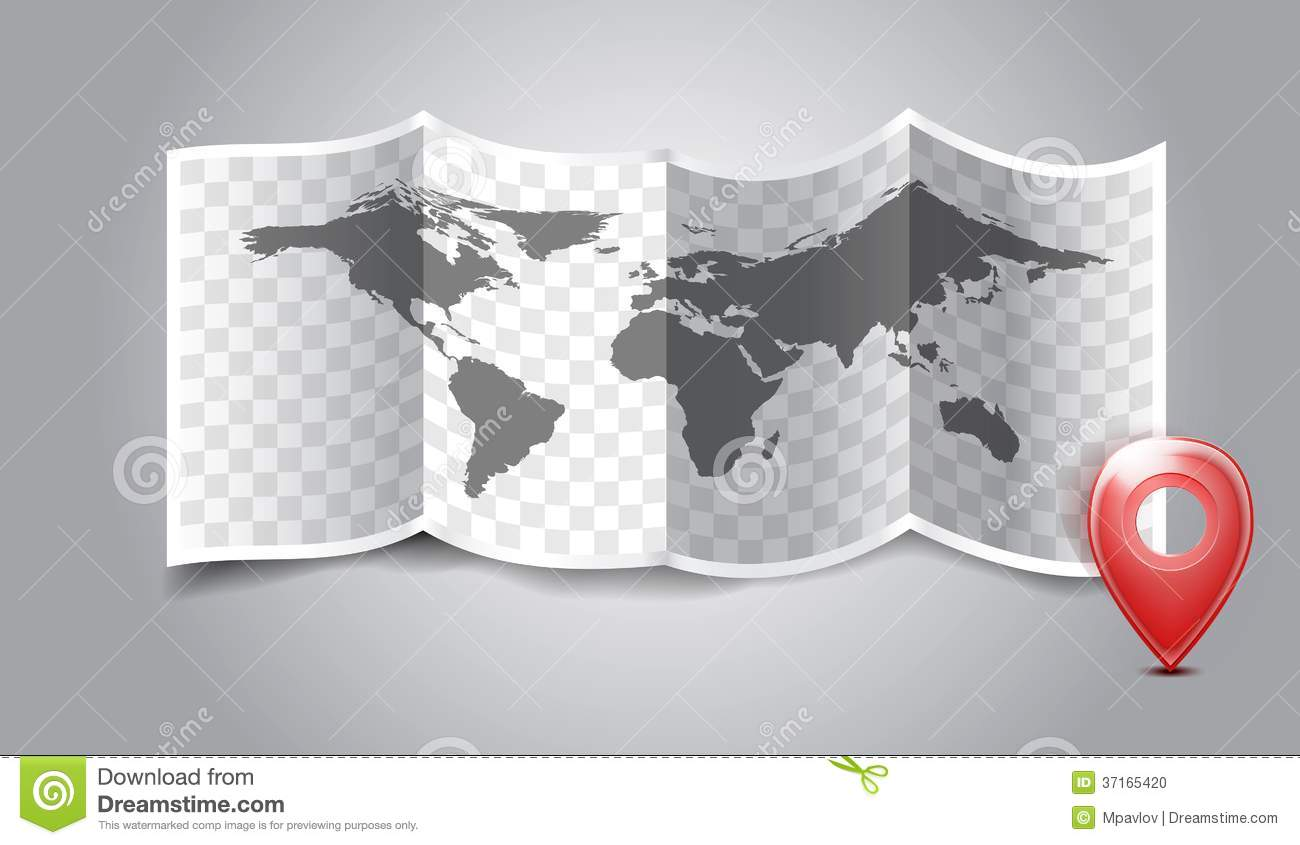 Folded world map with gps marks stock vector illustration of royalty free stock photo gumiabroncs Image collections