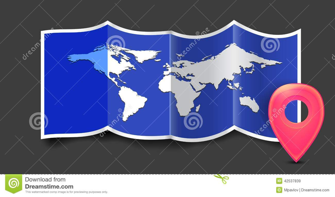 Folded world map with gps marks illustration 42537839 megapixl folded world map with gps marks gumiabroncs Image collections