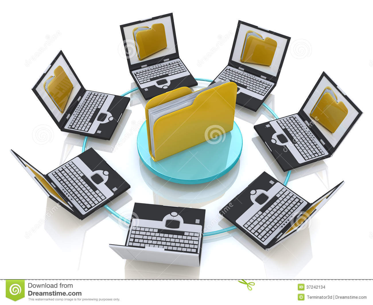 Folder Connected To Computer Network Stock Images Image