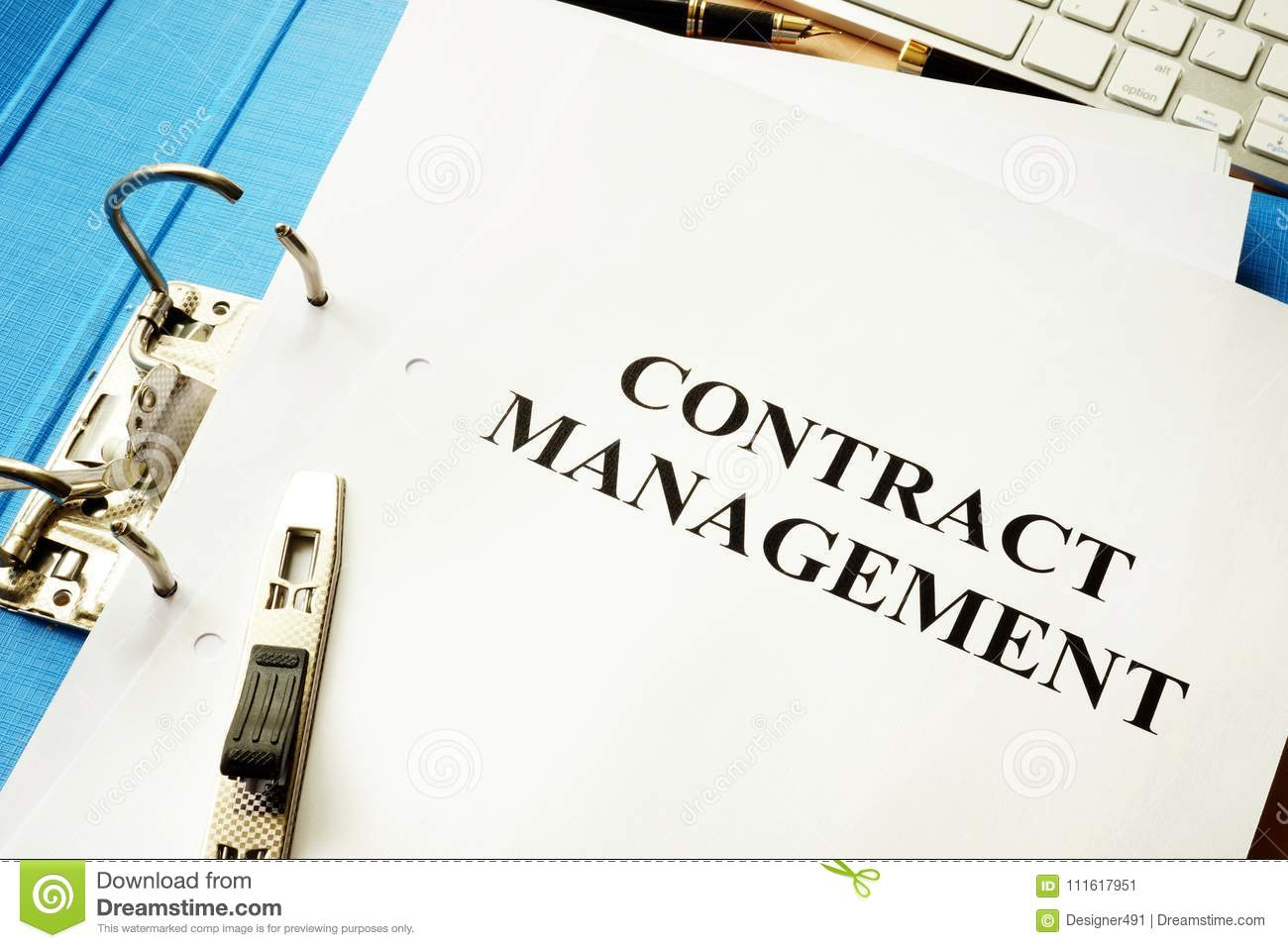 Folder and documents with contract management.