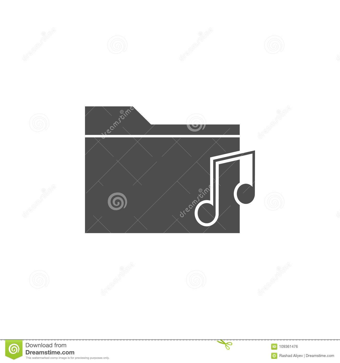 Folder With Music Icon Elements Of Web Icon Premium Quality