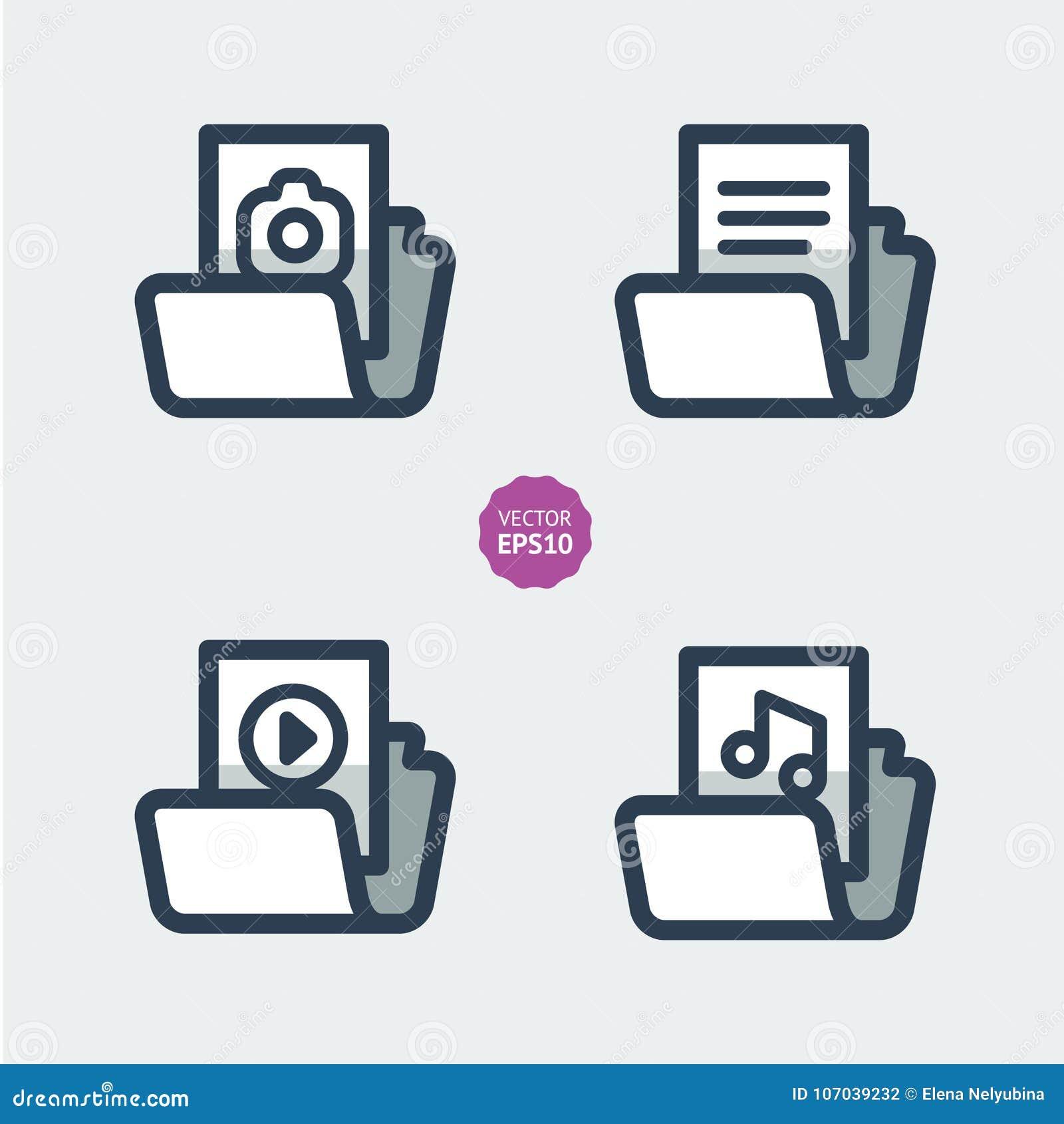 Folder Set Icons Multimedia Symbols Flat Illustration Stock
