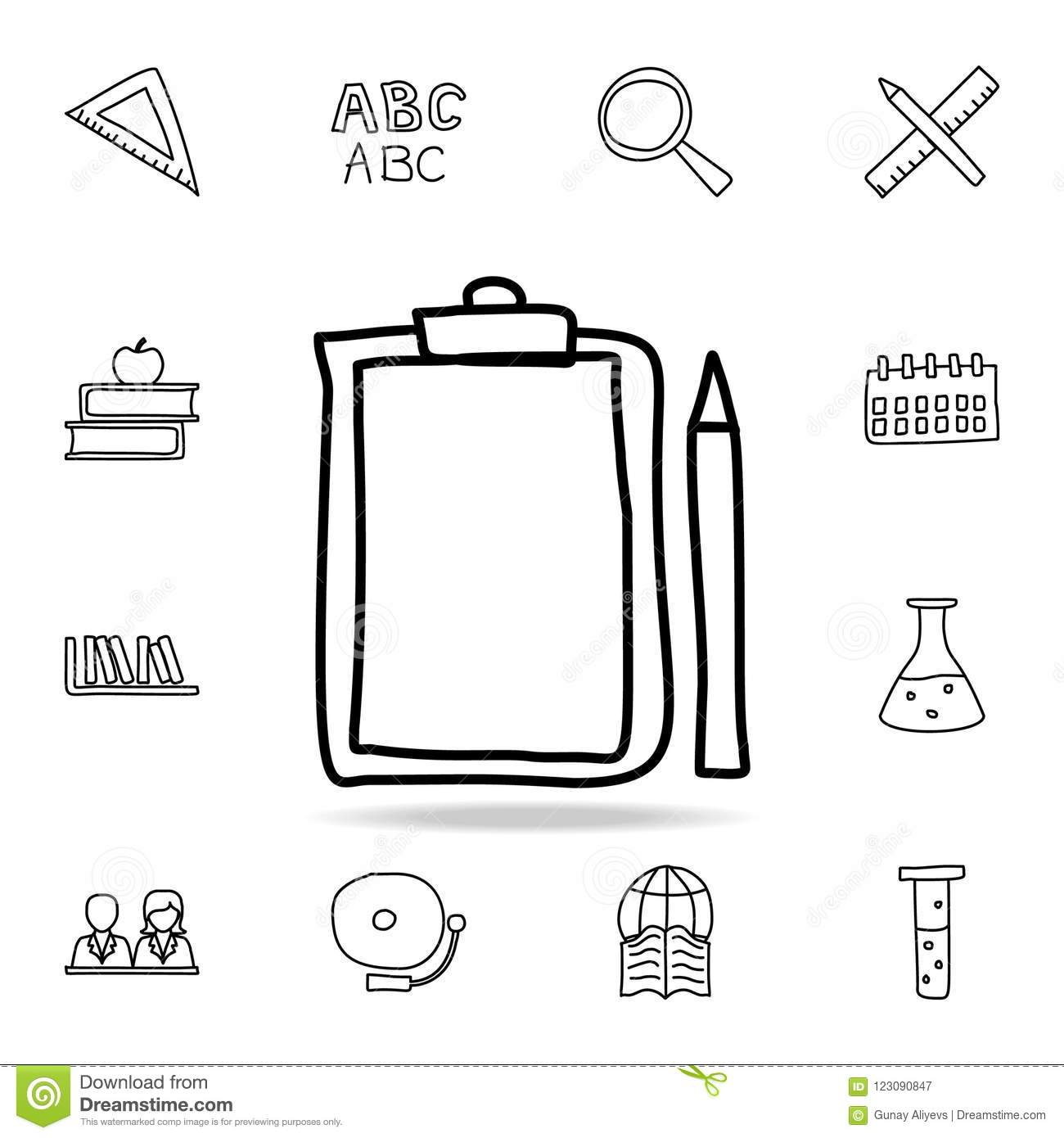 Folder Tablet And Pencil Sketch Icon Element Of Education Icon For