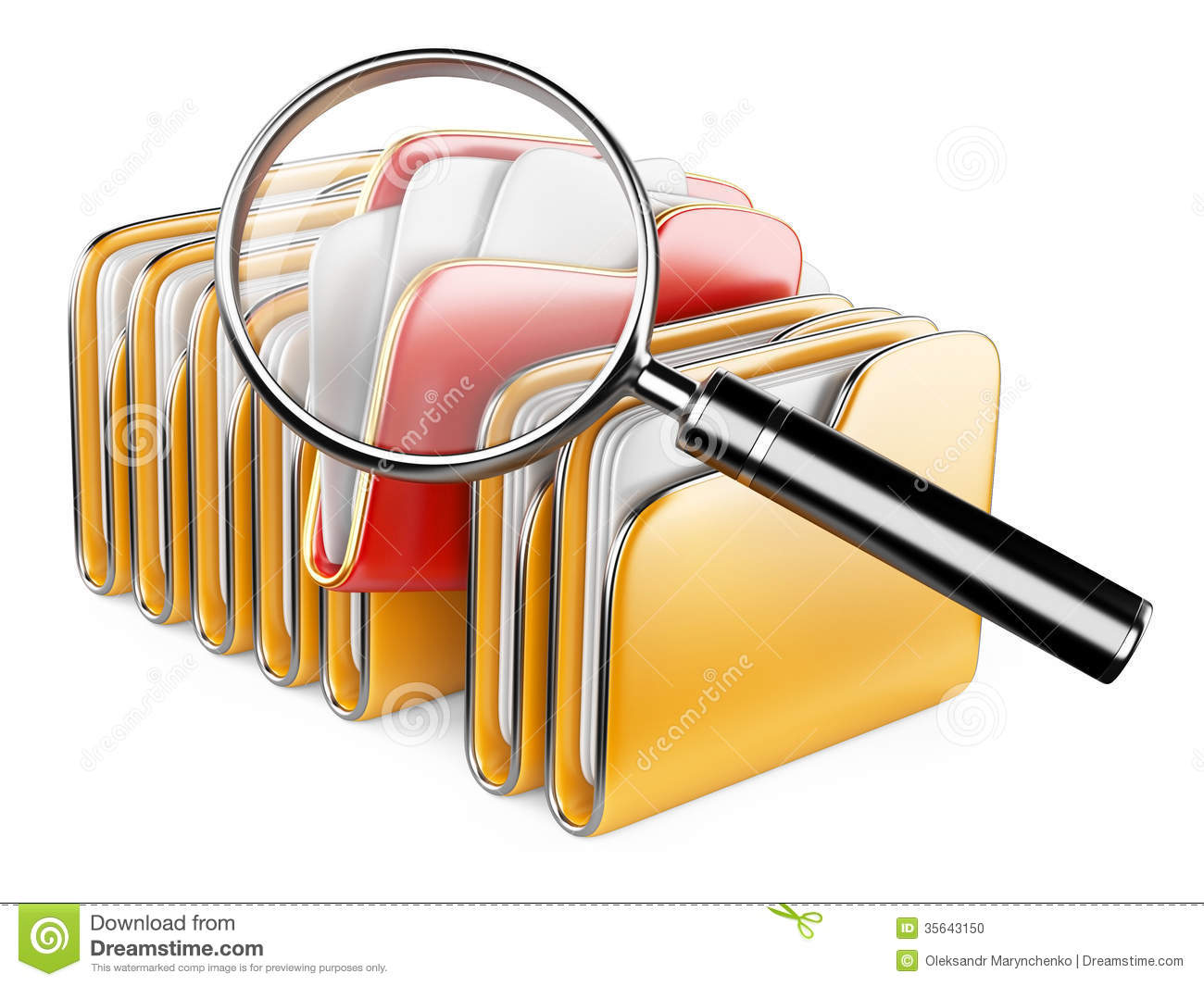 Folders Under The Magnifier. Stock Photo