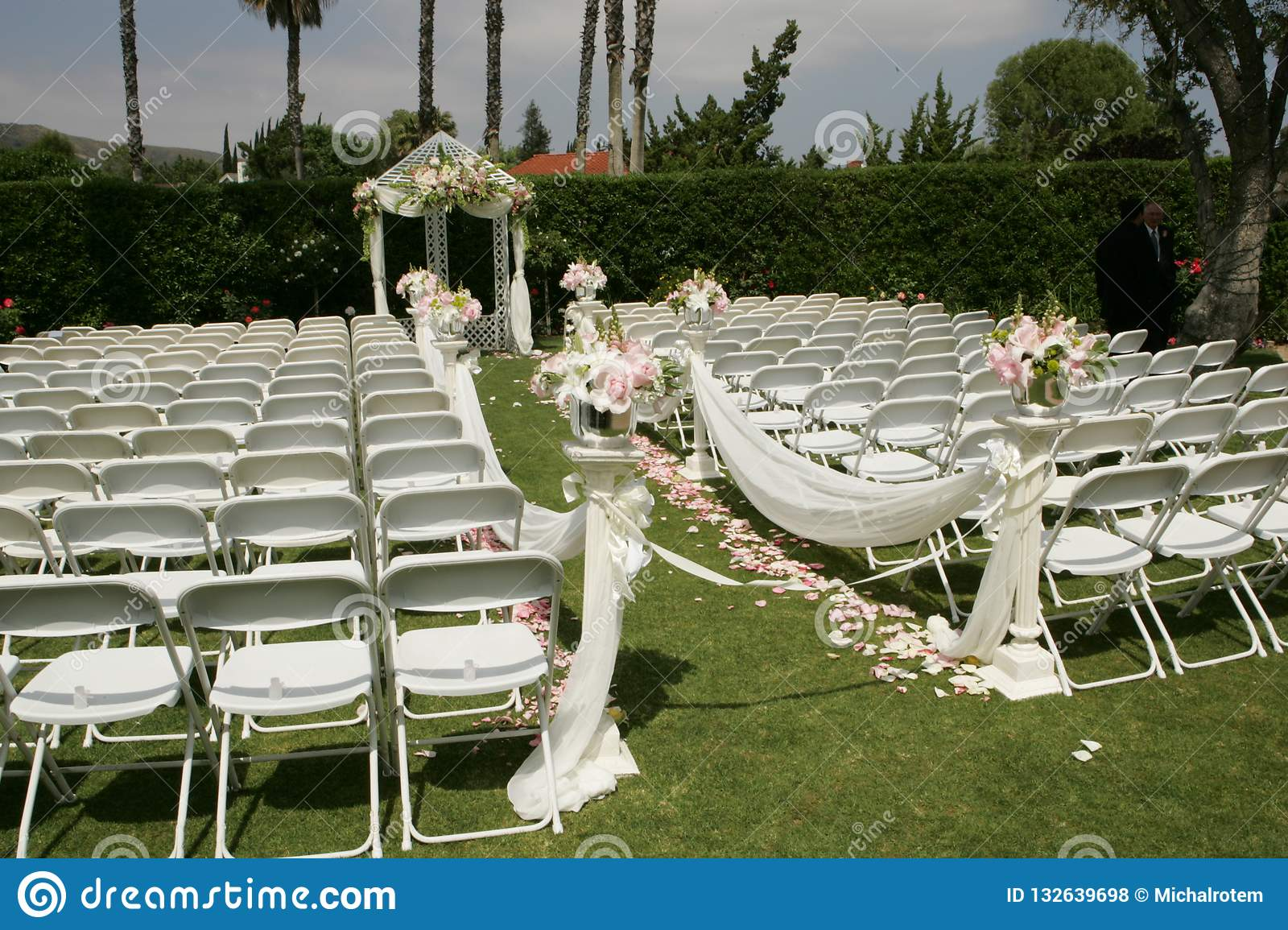 Outdoor Wedding White Chairs Bridal Party Stock Photo Image Of Closeup Chairs 132639698