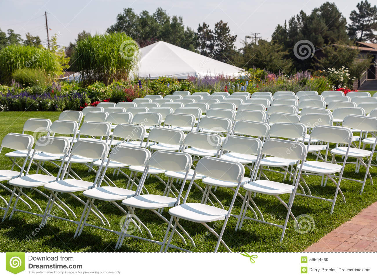Folding Chairs At A Garden Wedding Stock Photo Image Of