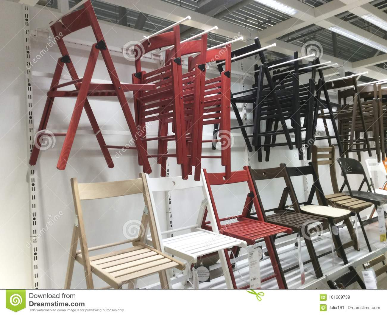 Folding Chairs In Ikea Shop Editorial Stock Image Image Of Paper