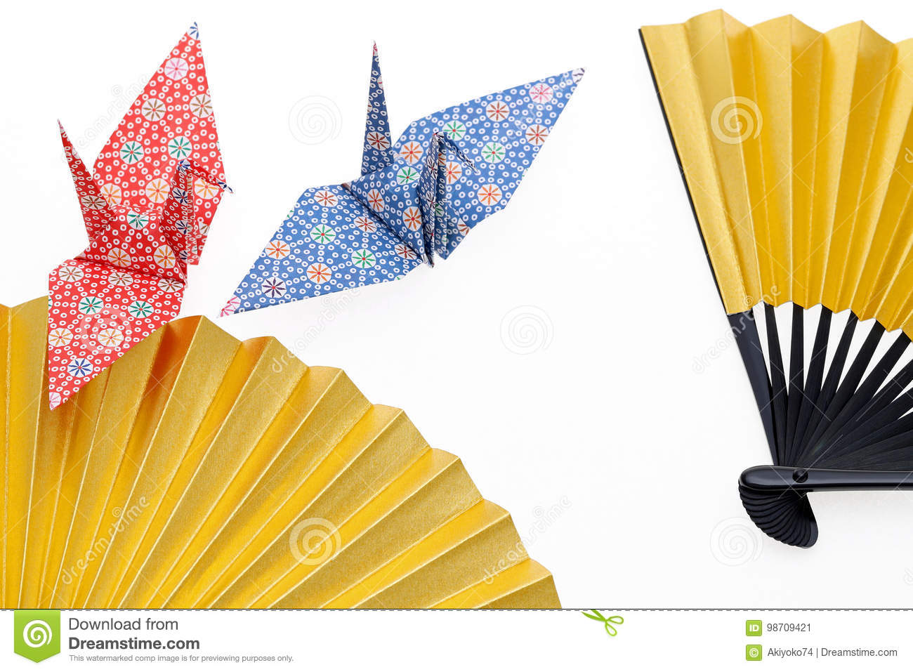 Download Folding Fan And Origami Bird Stock Image