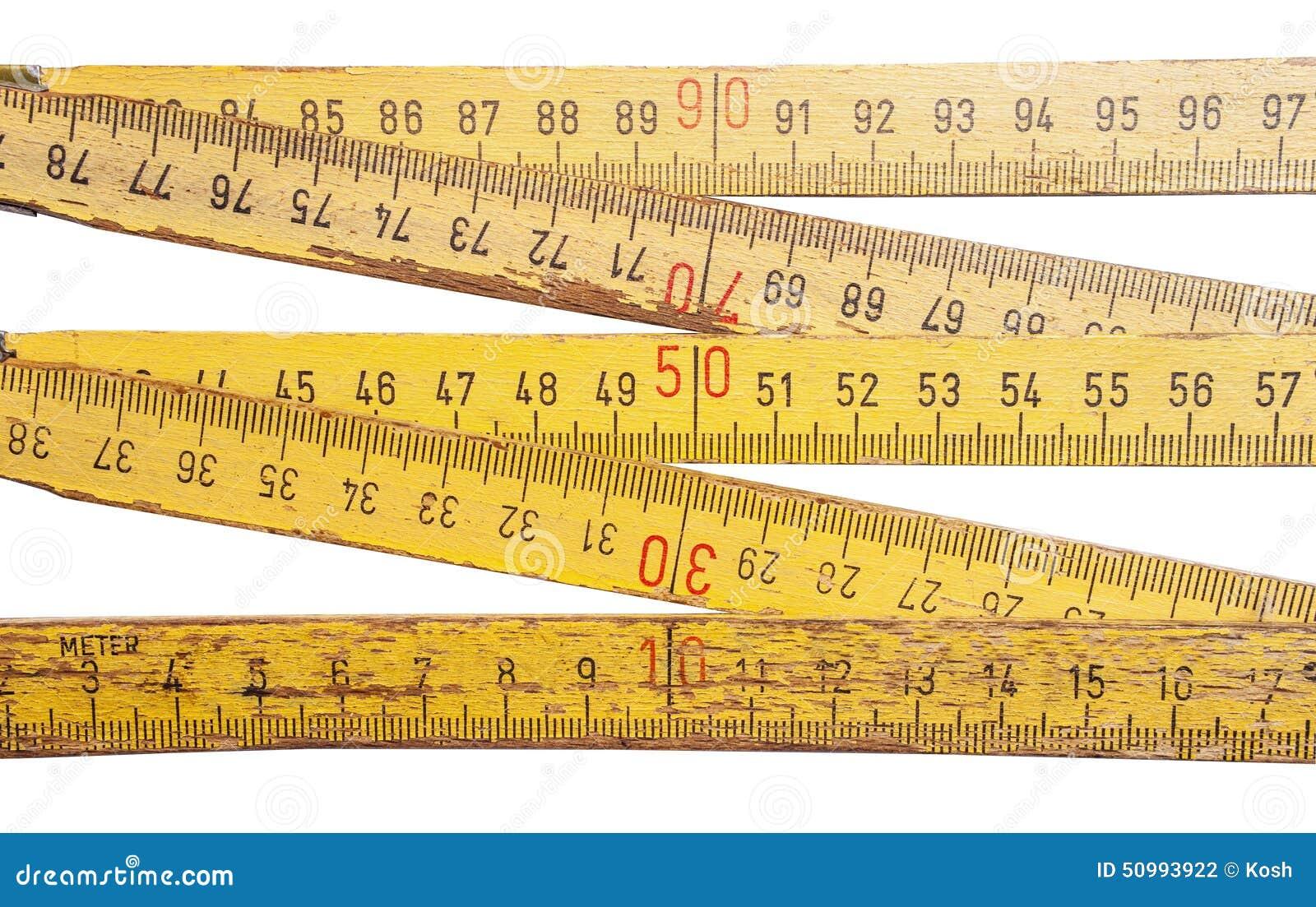 Folding ruler on white background