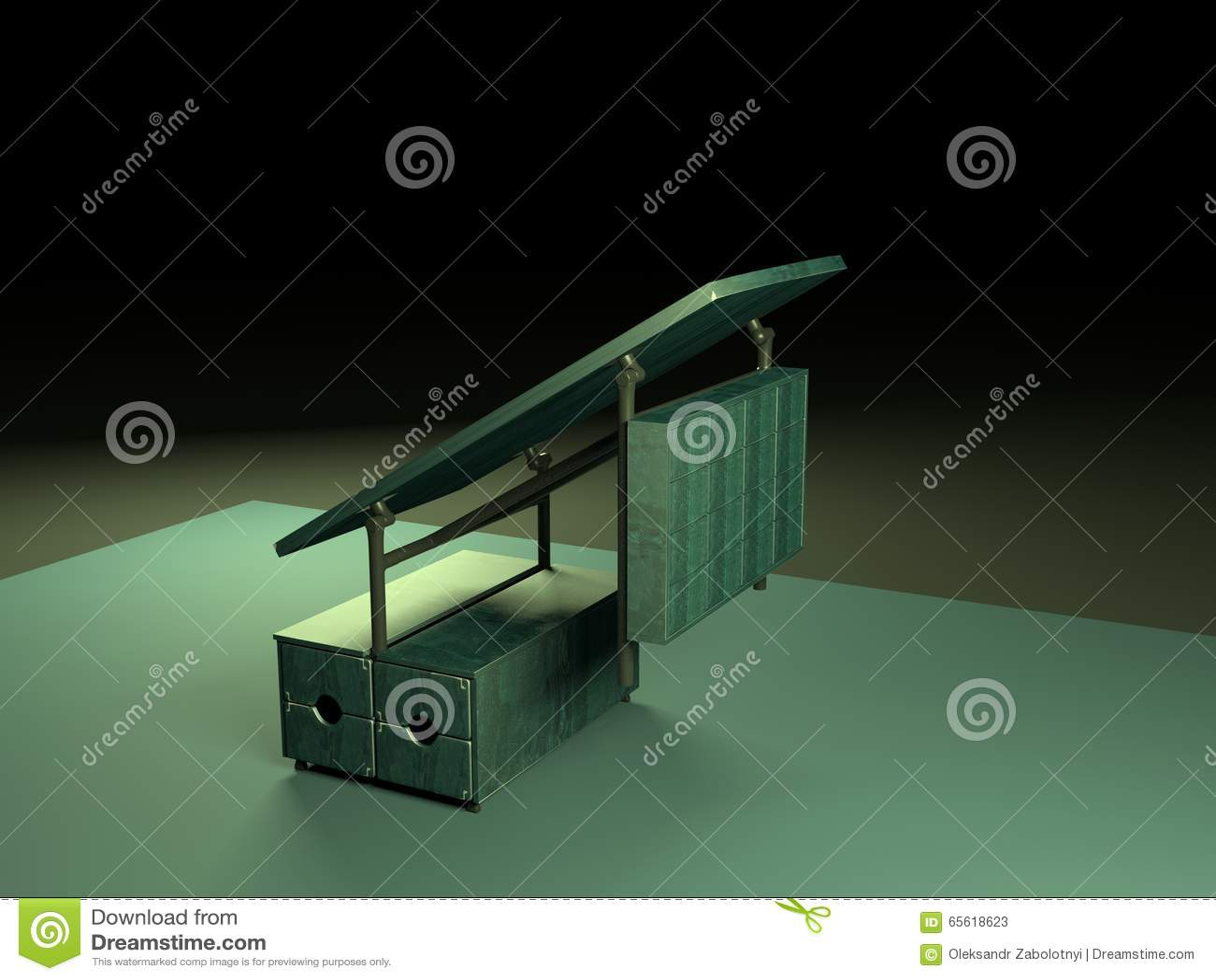 Folding table 3d model-2 stock illustration  Illustration of