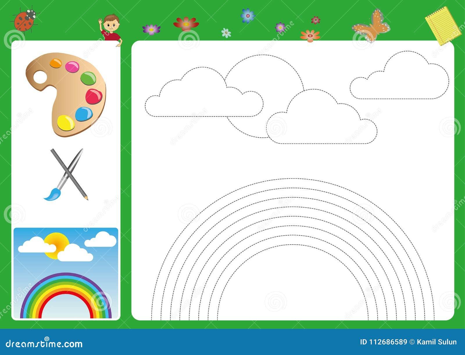 Folgen Sie Den Linien Mit Ihrem Bleistift Und Farbe, Die ...