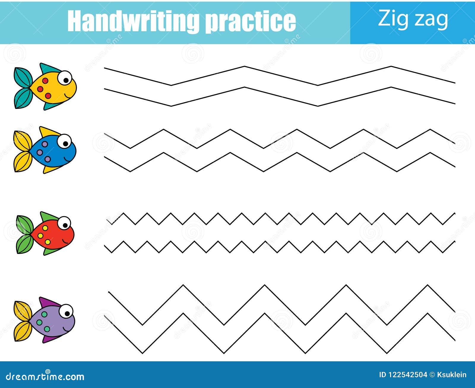 Folha da prática da escrita Jogo educacional das crianças, folha imprimível para crianças LINHAS DE ZIG ZAG