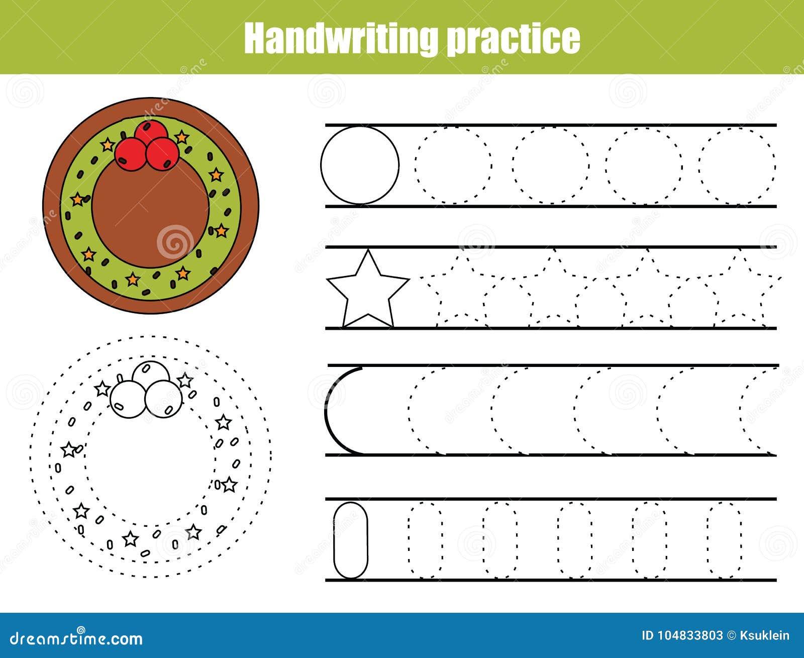 Folha da prática da escrita Jogo educacional das crianças, folha imprimível para crianças Escrita que treina a folha imprimível C