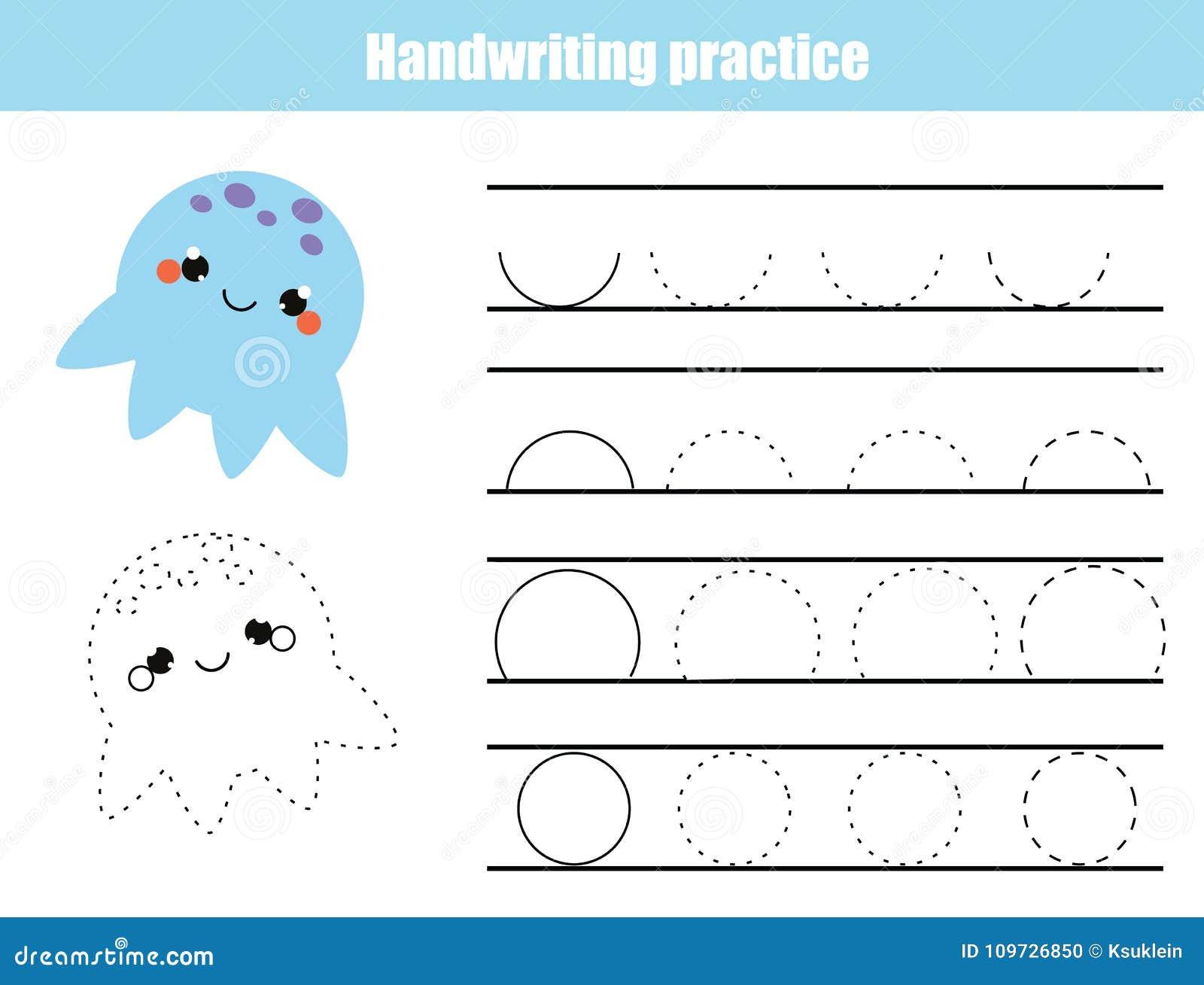 Folha da prática da escrita Jogo educacional das crianças, folha imprimível para crianças Escrita que treina a folha imprimível S