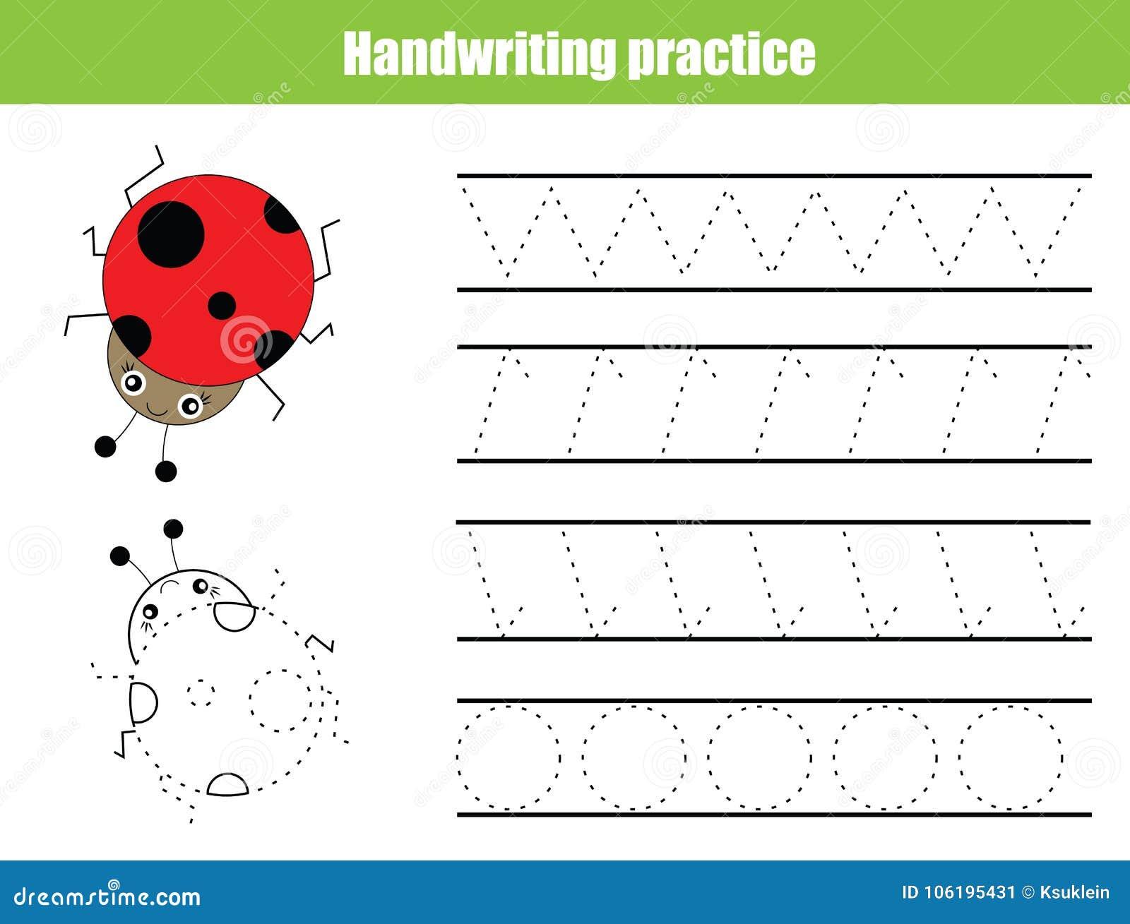 Folha da prática da escrita Jogo educacional das crianças, folha imprimível para crianças Treinamento da escrita, linhas de traça