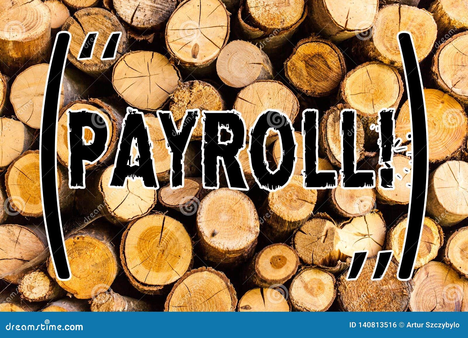 Folha de pagamento do texto da escrita Os salários totais do significado do conceito pagaram por uma empresa a sua madeira de mad