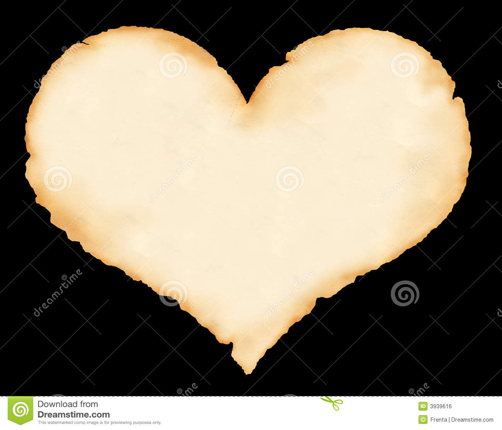 Folha de um papel velho sob a forma do coração