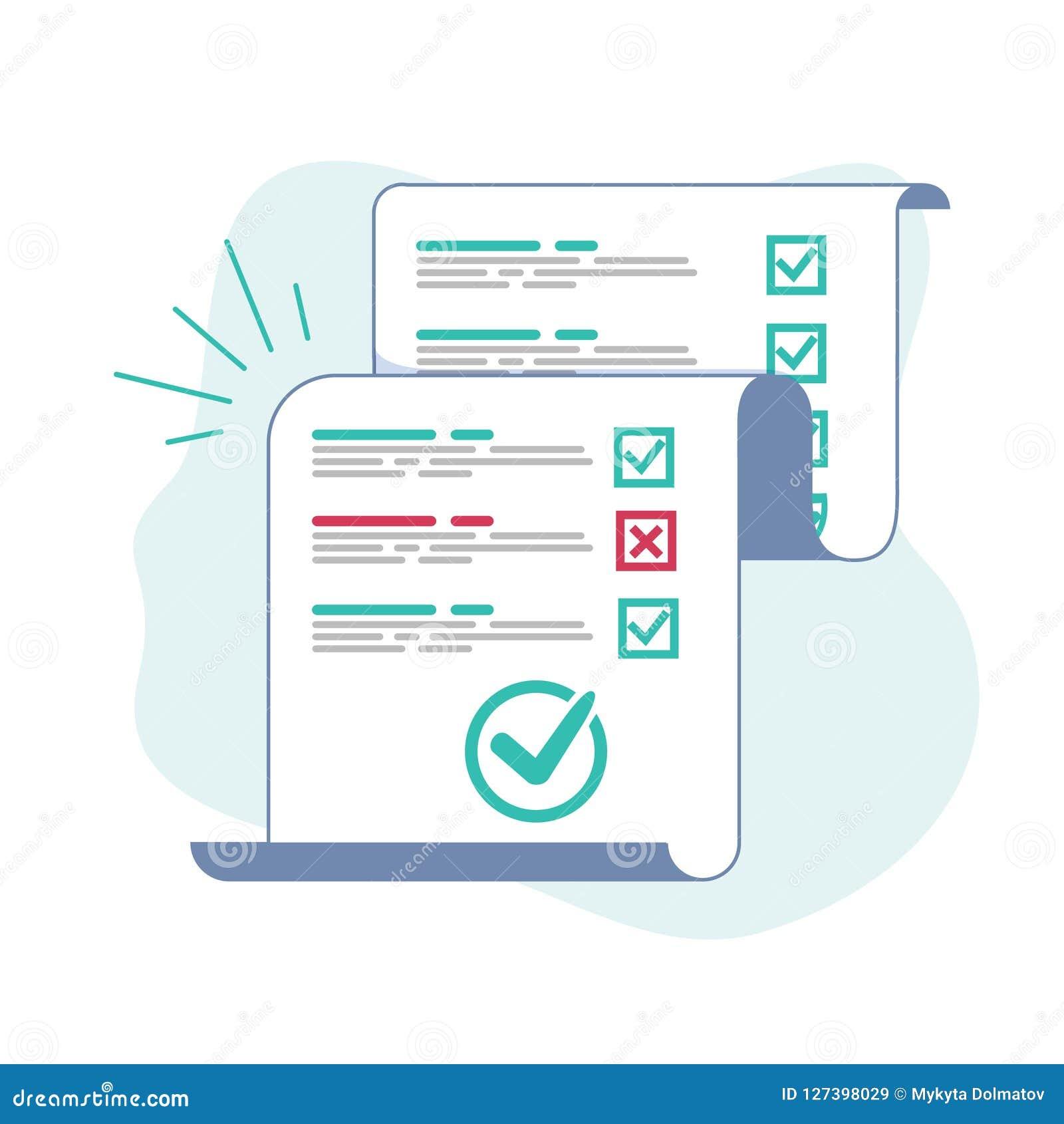 Folha do papel longo do formulário da avaliação ou do exame com avaliação respondida da lista de verificação do questionário e do