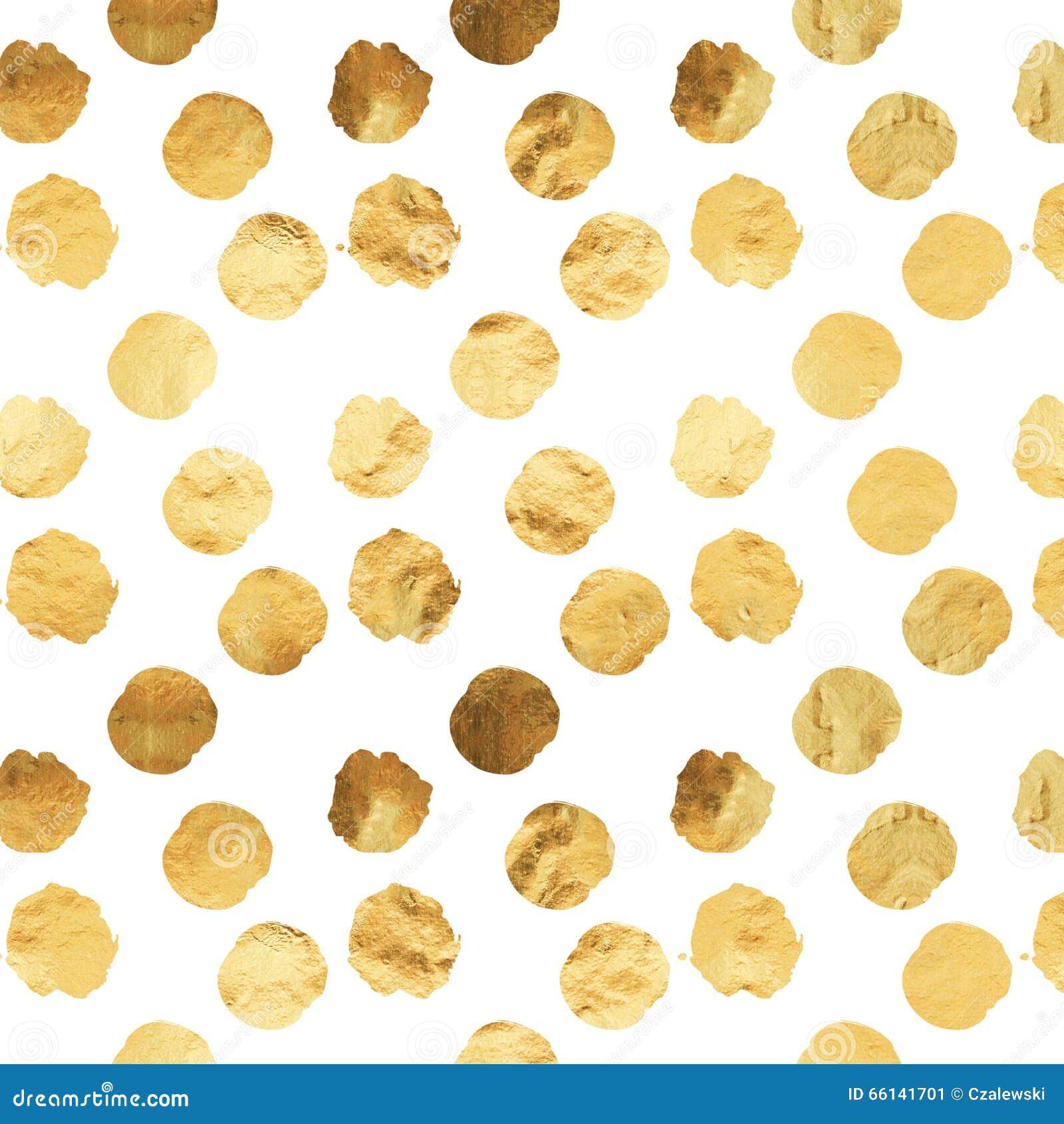 Folha Dots White Background Pattern metálico do falso do ouro