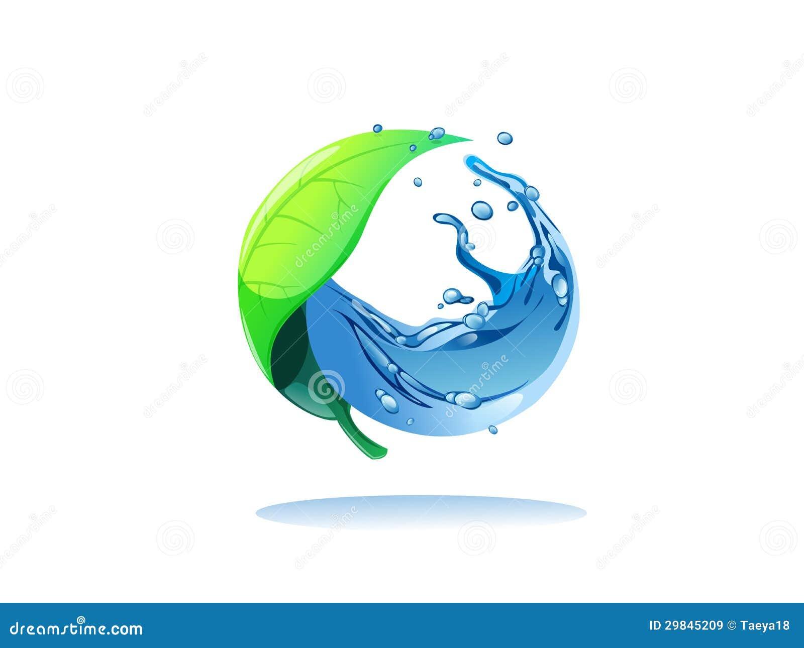 Folha e água no círculo
