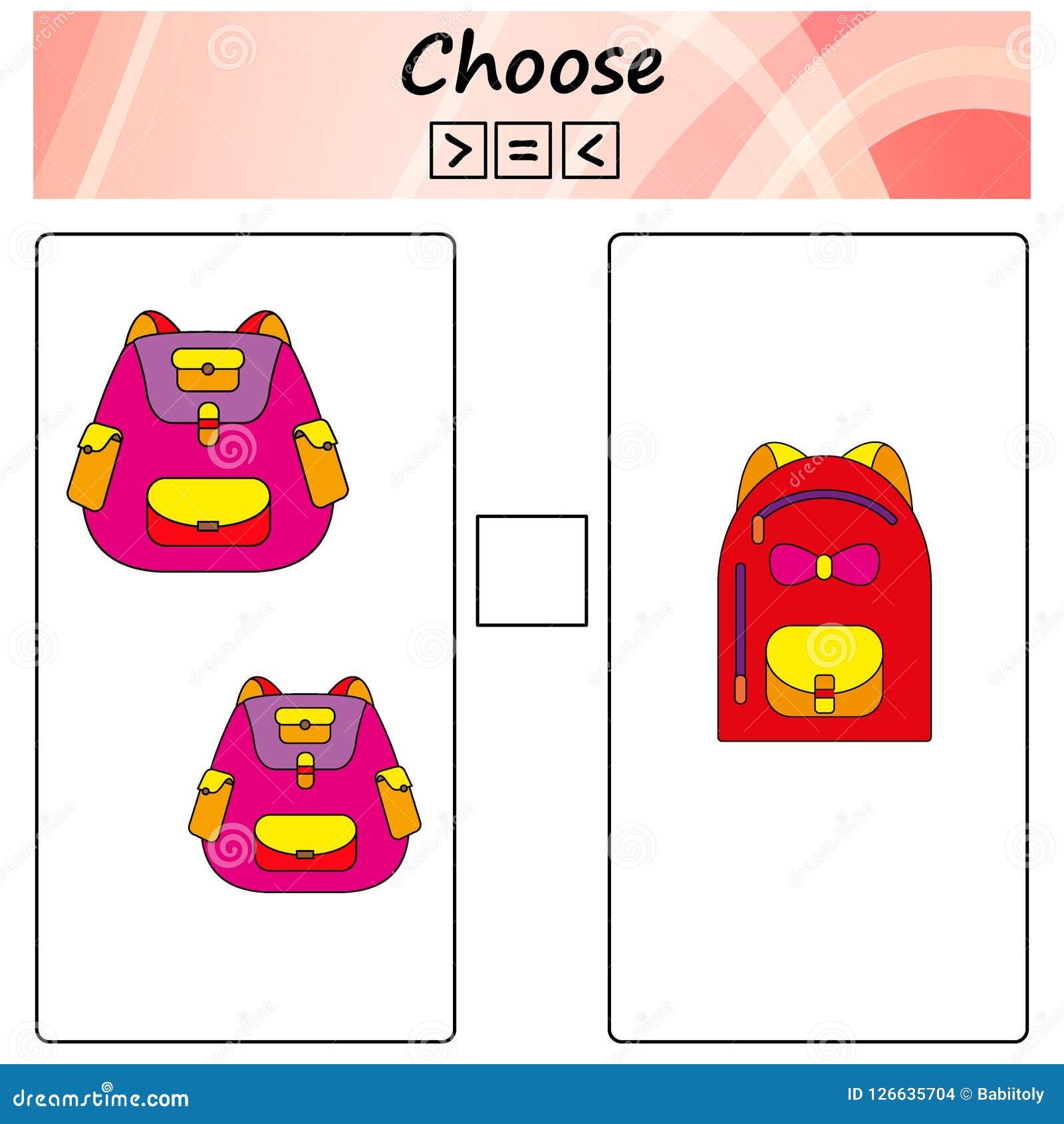 Folha Jogo para crianças - escolha mais, menos ou o igual Aprendendo a matemática, números Tarefas para crianças prées-escolar