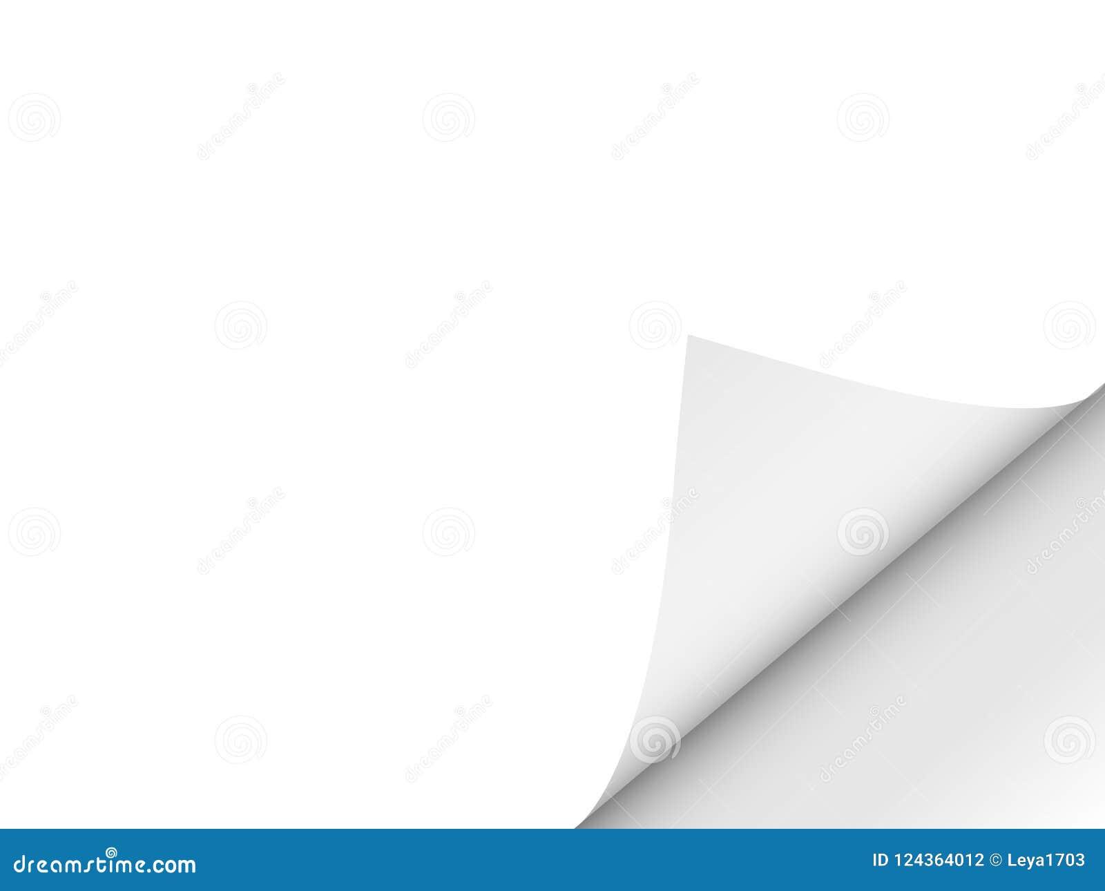 Folha limpa dobrada Giro de página Espaço para o texto Ilustração do vetor