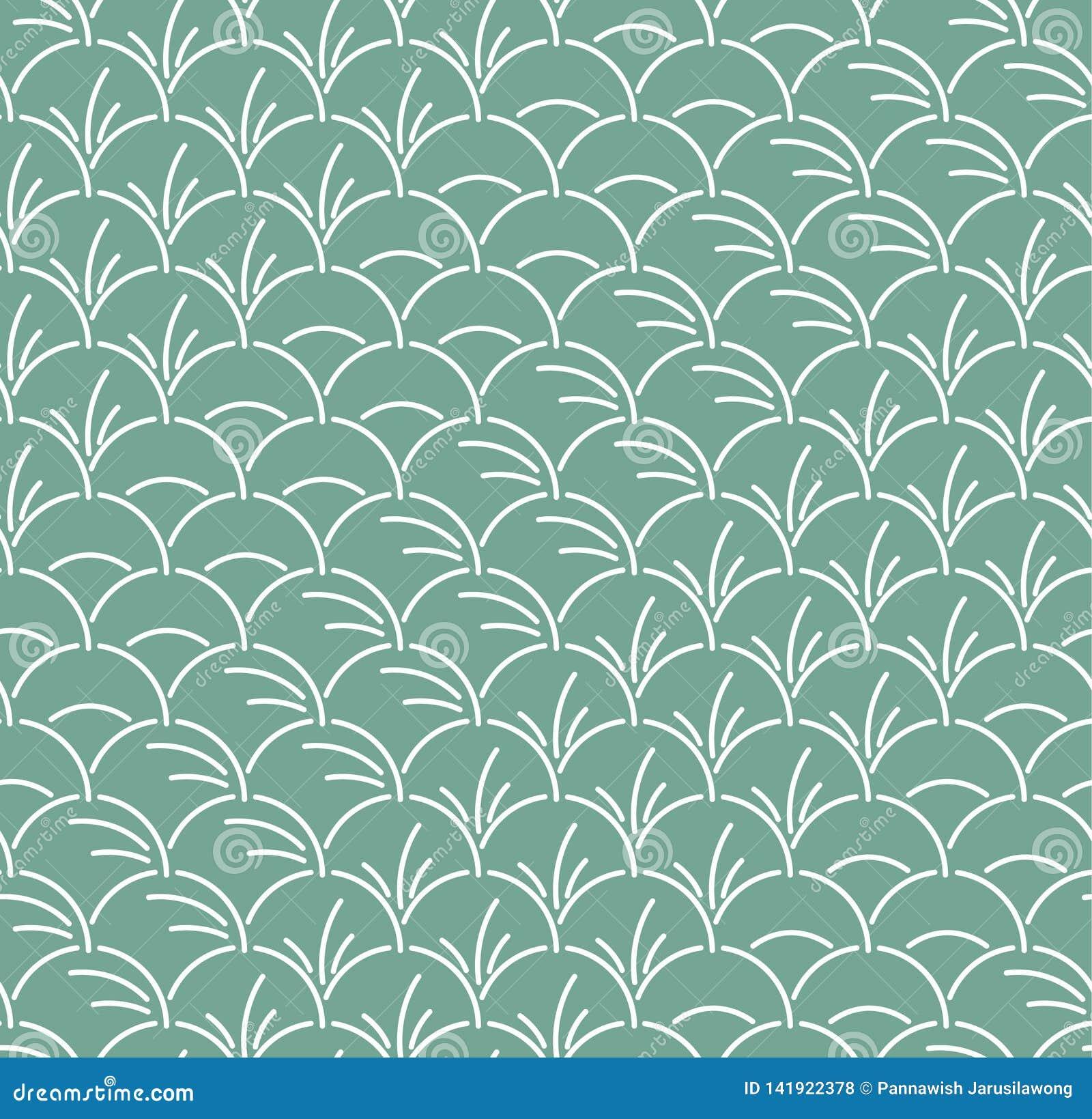 Folha semicircular japonesa Art Seamless Pattern
