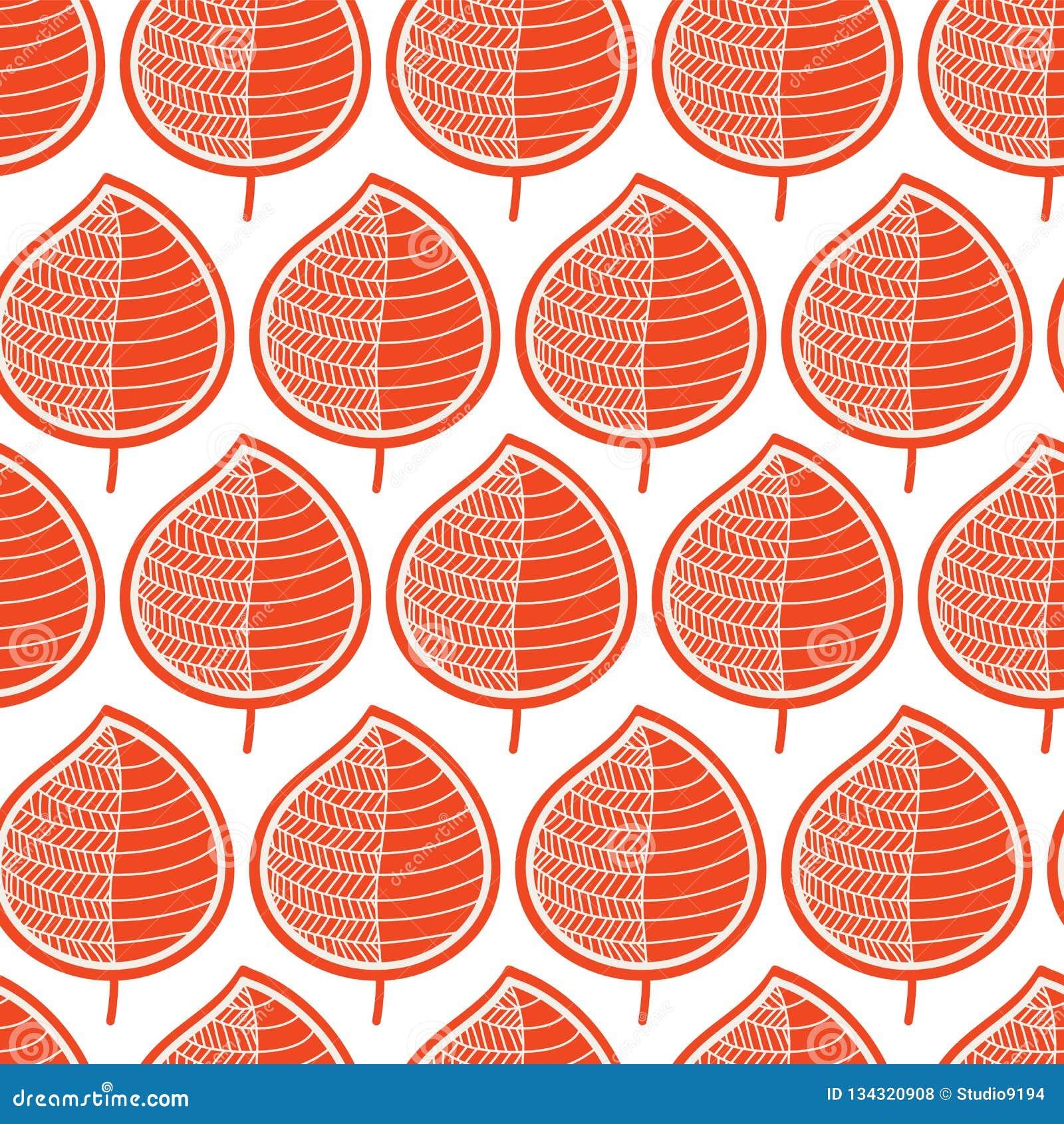 Folhas alaranjadas geométricas em um fundo branco Teste padrão sem emenda do vetor Repetindo a folha estilizado da queda da textu