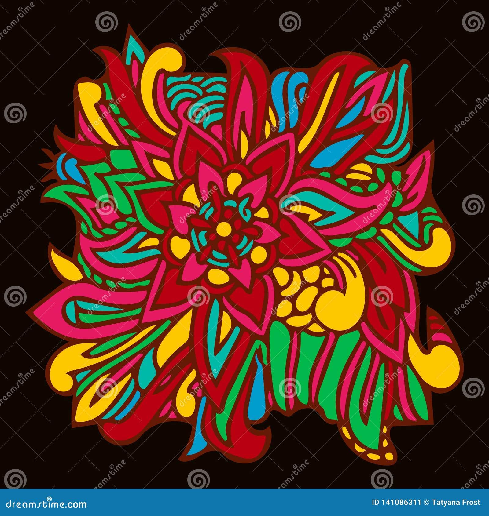 Folhas coloridas do elemento oriental do teste padrão