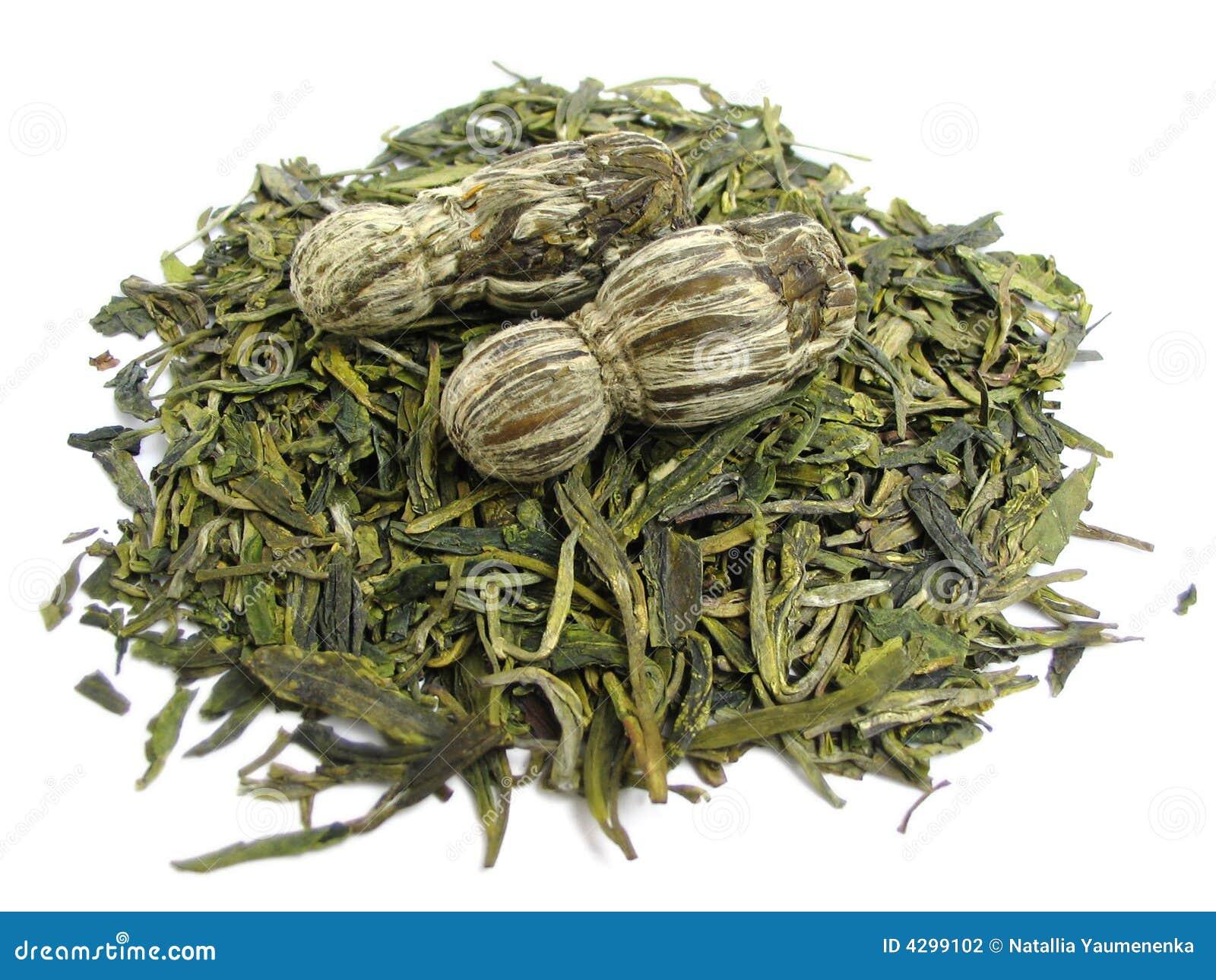 Folhas de chá verde aromáticas