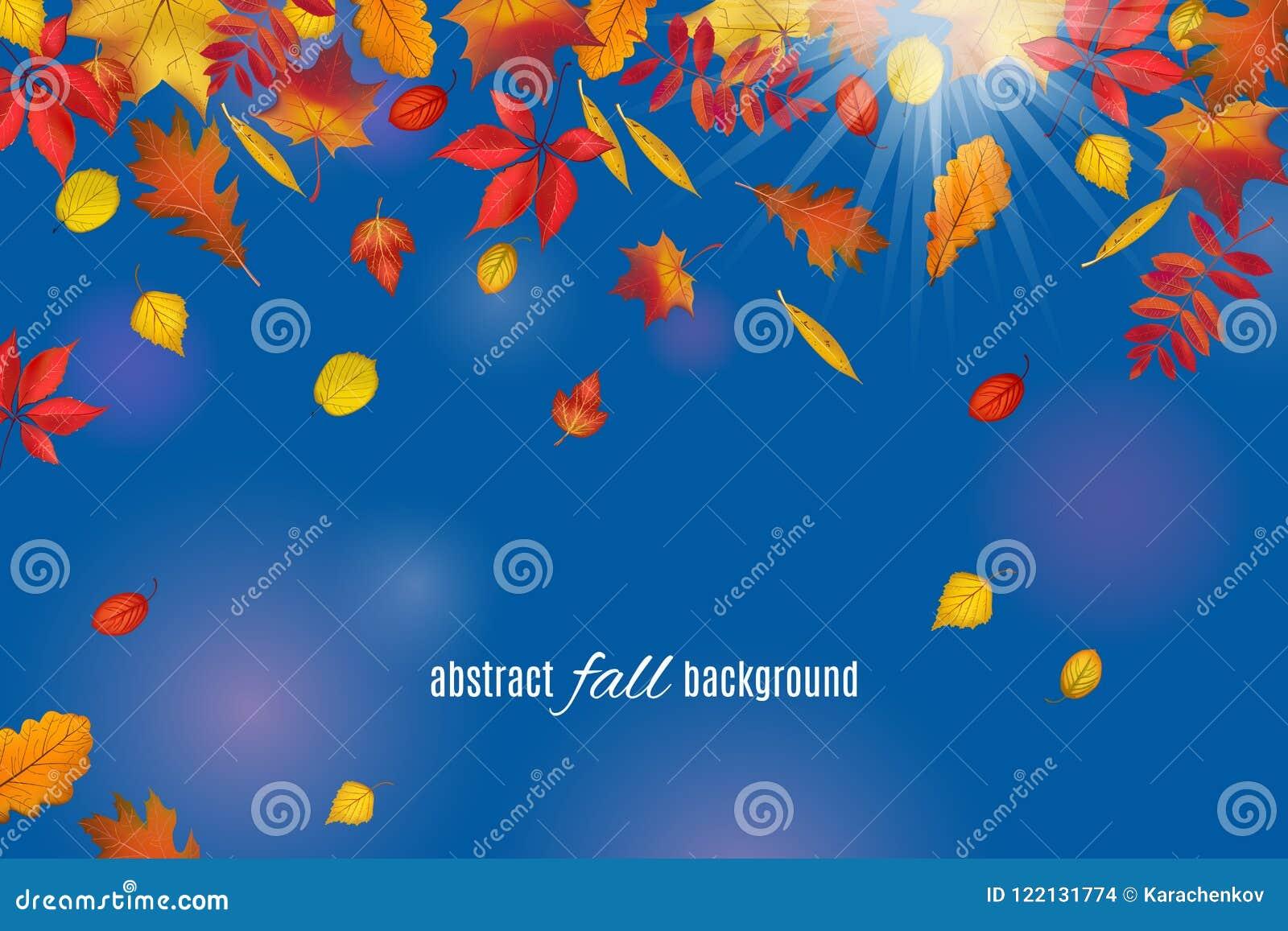 Folhas de outono isoladas no fundo claro do céu azul
