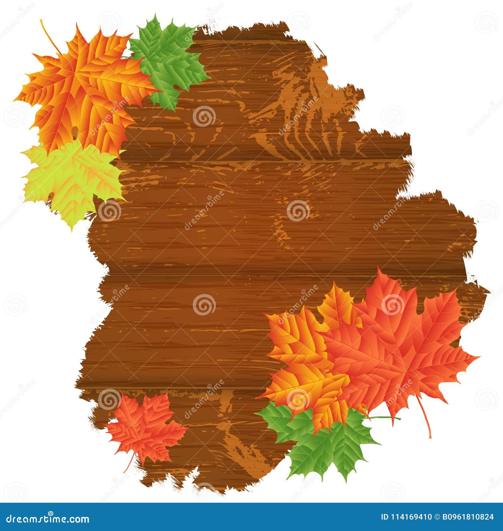 Folhas de outono sobre o fundo de madeira Com espaço da cópia Illu do vetor
