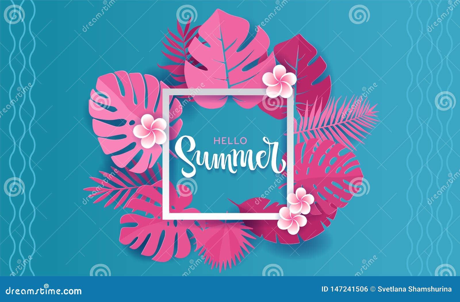Folhas de palmeira cor-de-rosa do monstera em torno do quadro quadrado branco com a mão que rotula o projeto da bandeira do verão