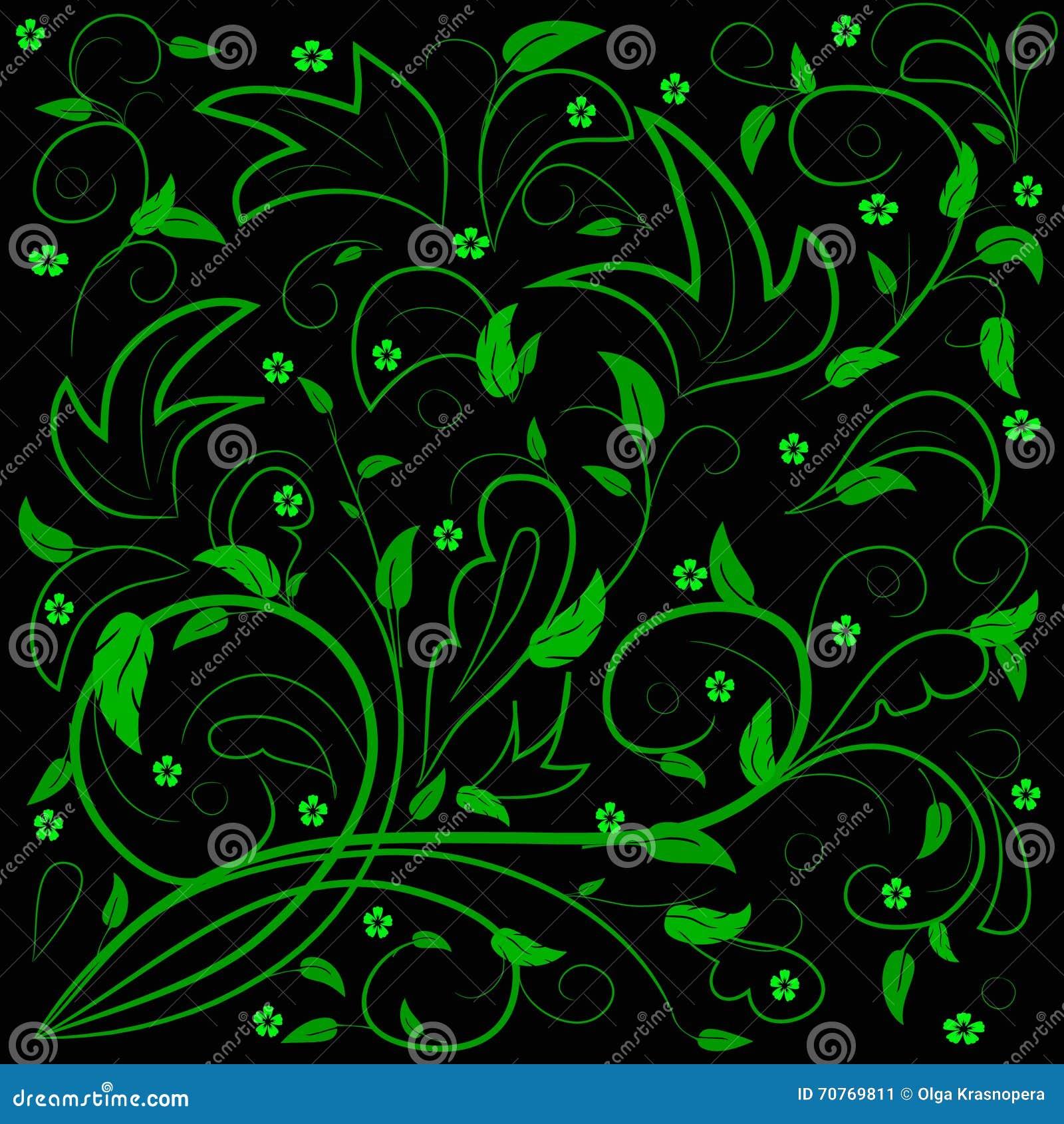 Folhas do verde com redemoinhos abstratos