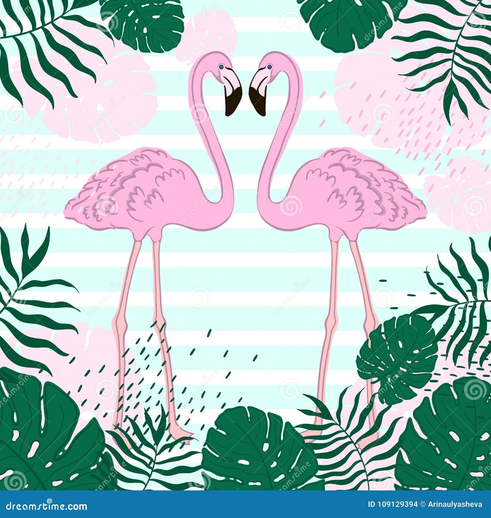 Folhas E Bandeira Tropical Do Verão Do Flamingo Fundo Gráfico