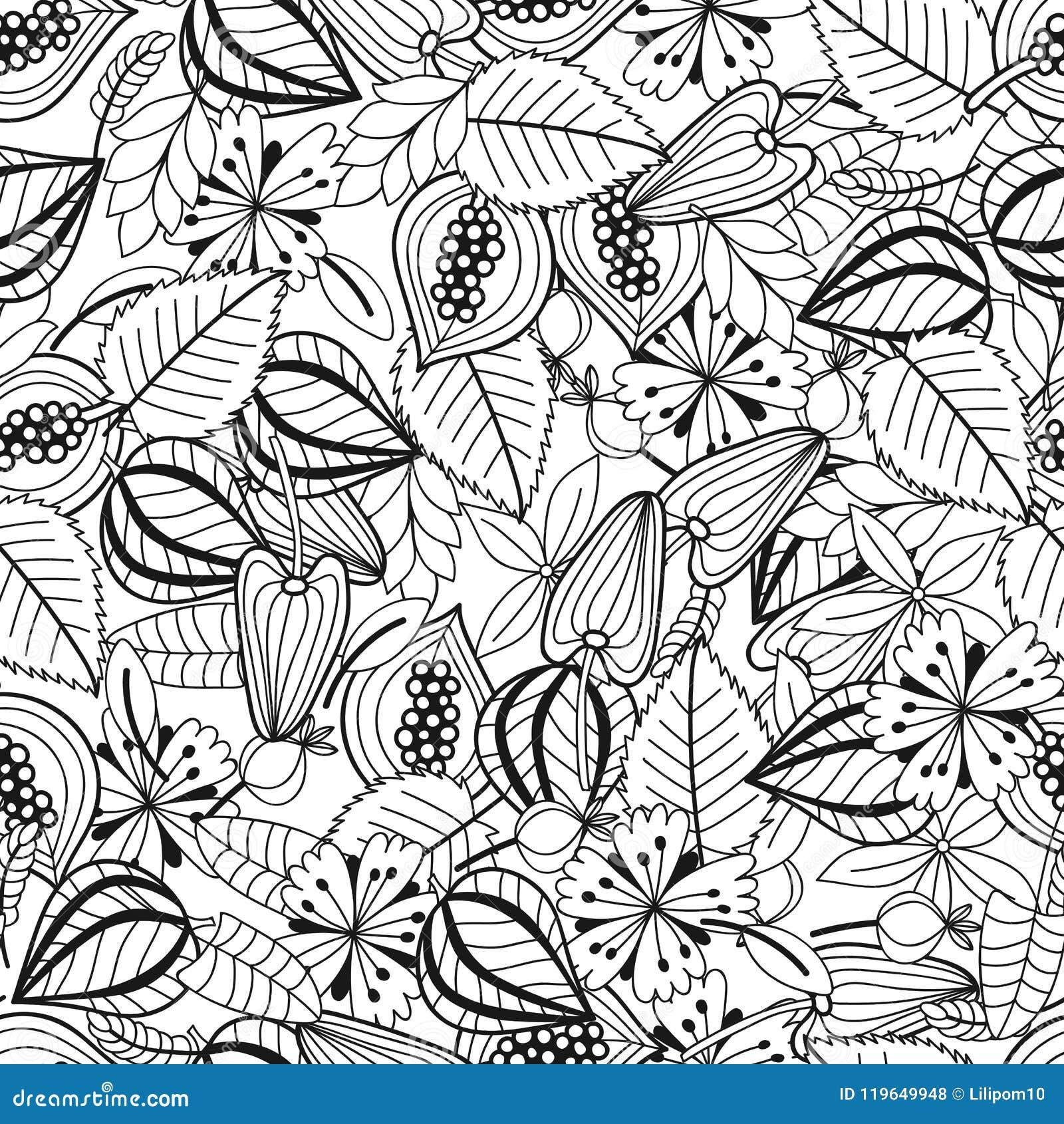 Folhas E Flores Ilustração Preto E Branco Para O Livro Para