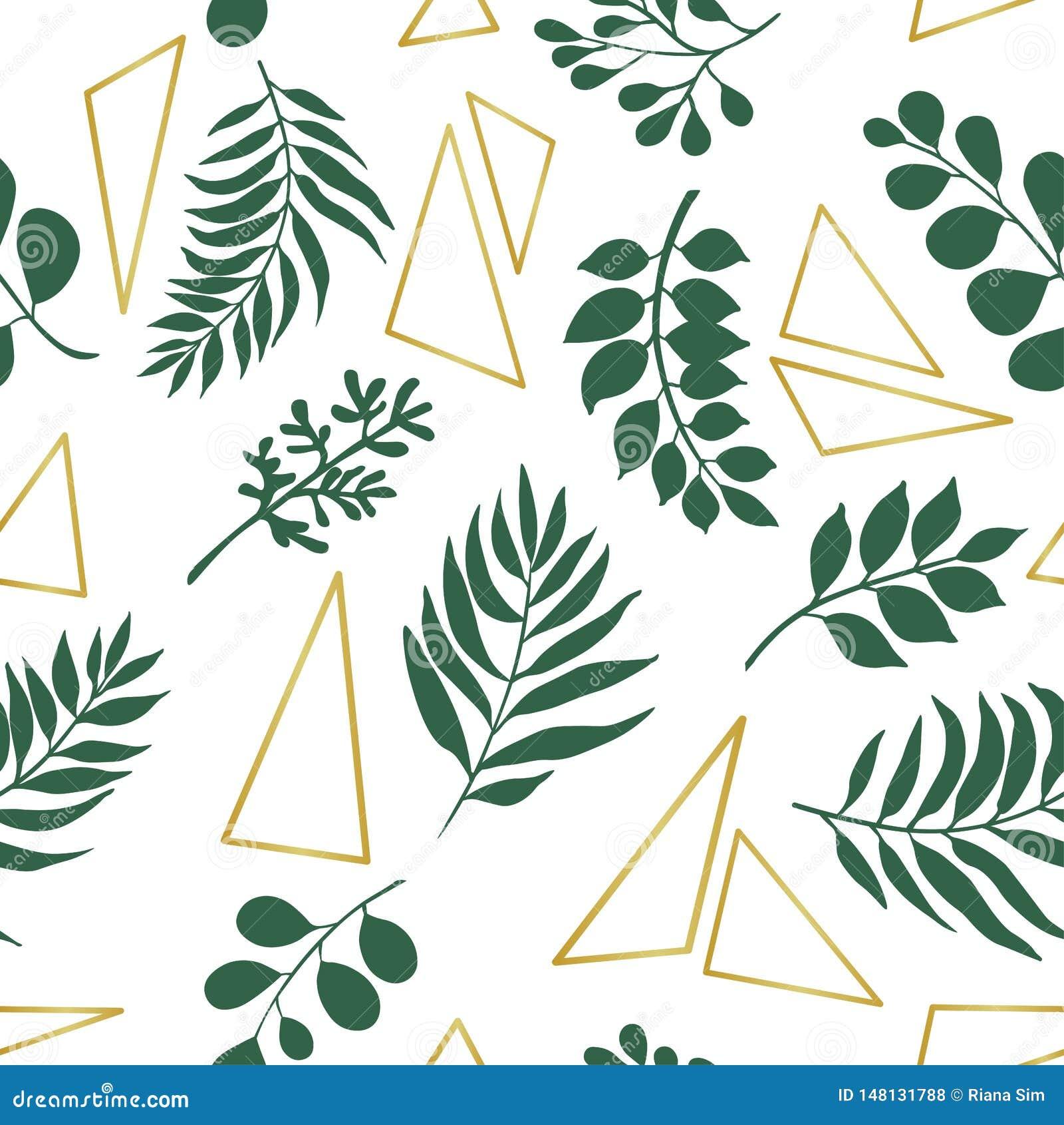 Folhas exóticas na moda e elementos do ouro Teste padr?o sem emenda