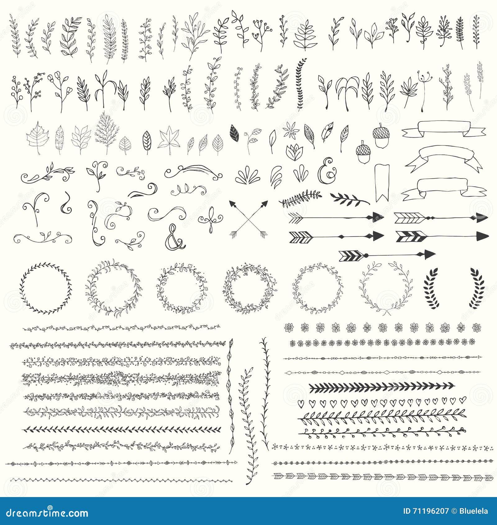Folhas tiradas mão do vintage, setas, penas, grinaldas, divisores, ornamento e elementos decorativos florais