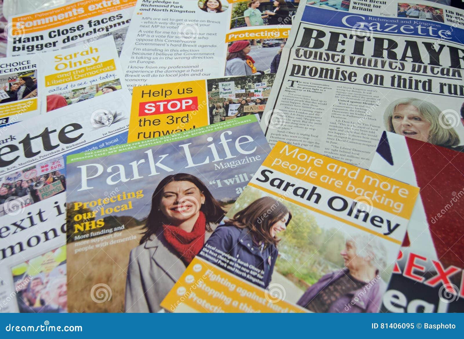 Folhetos da eleição antecipada de Democrata liberal