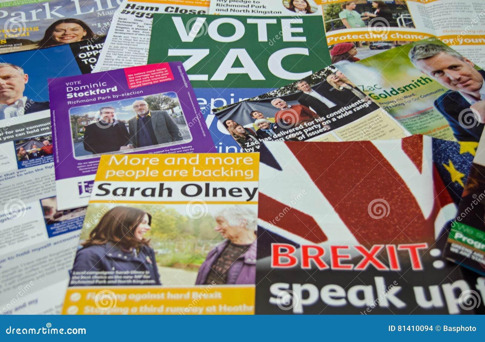 Folhetos da eleição antecipada de Richmond Park