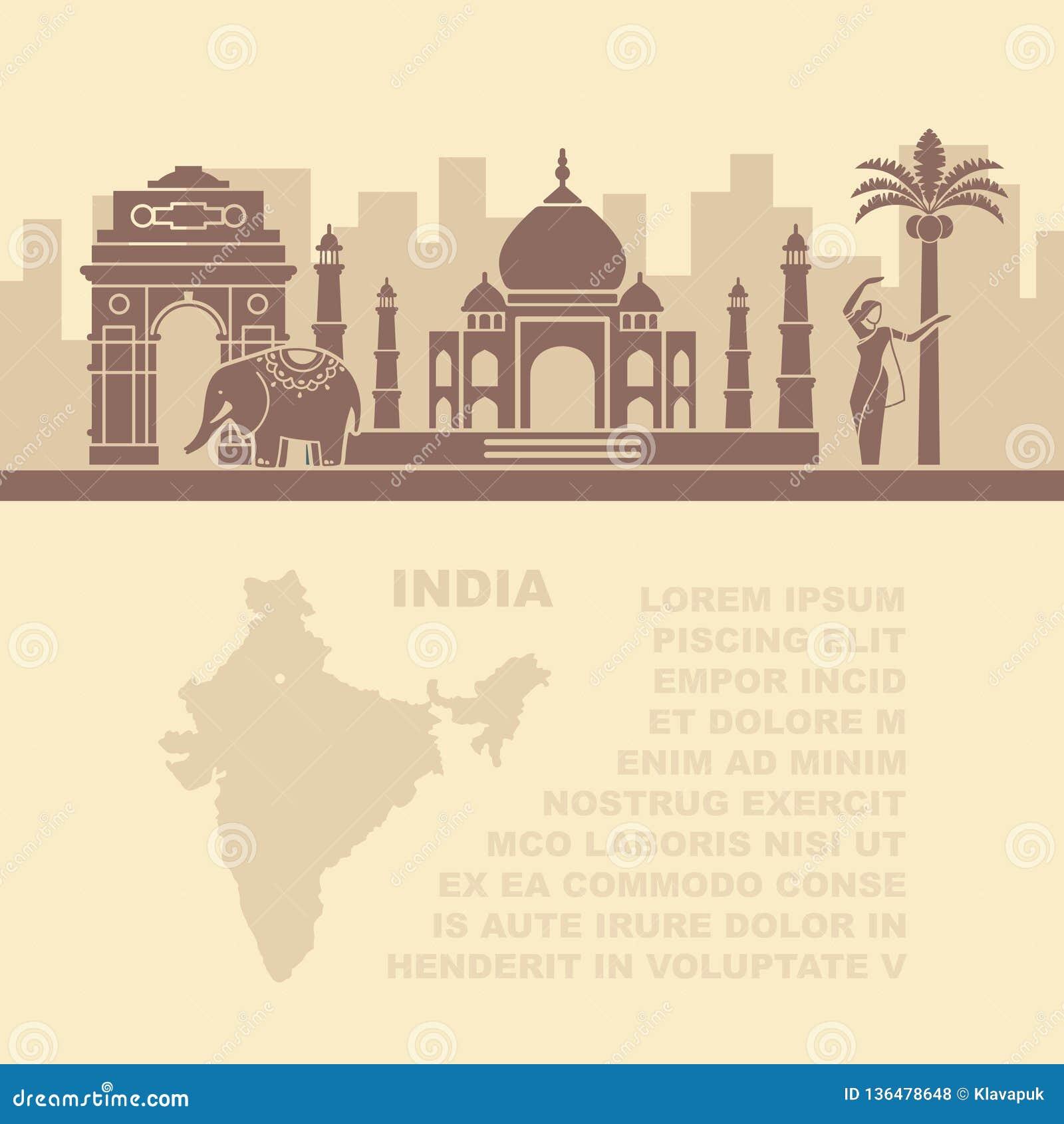 Folhetos do molde com um mapa e uns marcos arquitetónicos da Índia e do lugar para o texto
